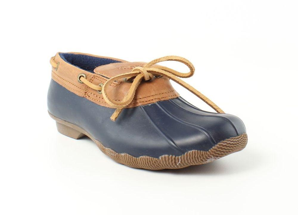 Sperry Top Sider Womens Cormorant Navy/Cognac Rainboots Size 5 (121334)