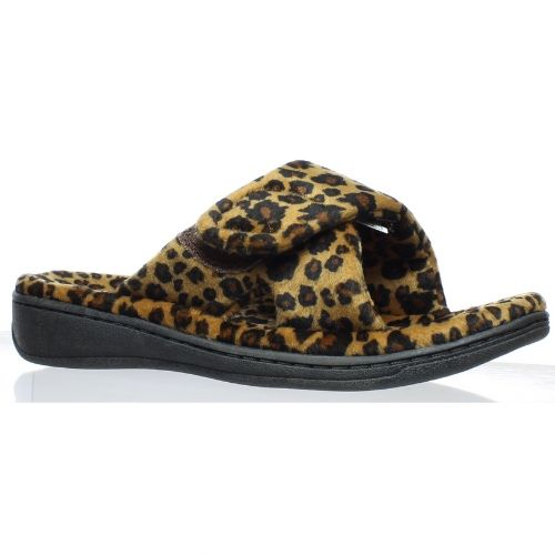 Vionic Womens Indulge Relax Tan Leopard Slippers