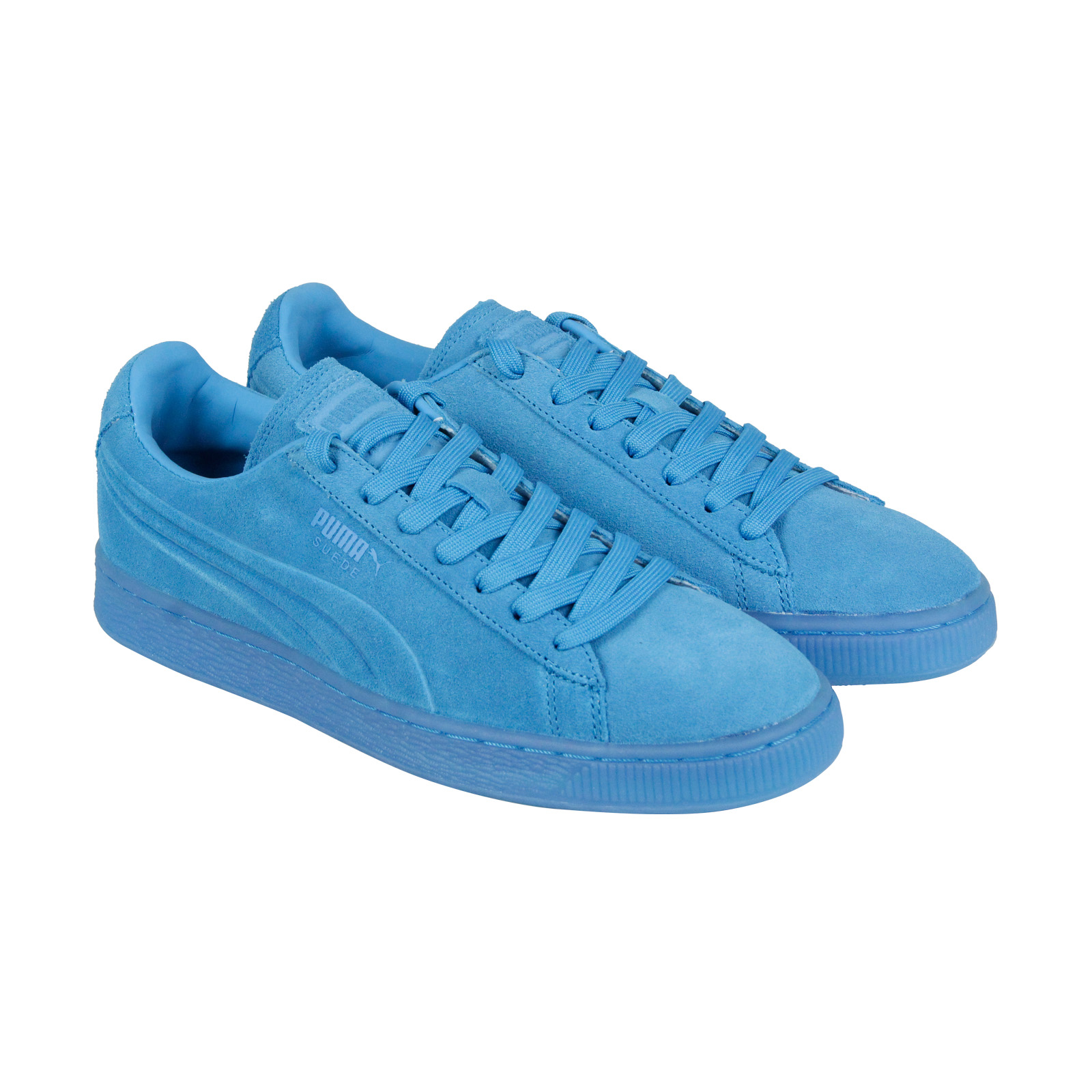 Puma Emboss Splatter Fluo Mens Blue Suede Lace Up Sneakers Shoes 10 Cheap and beautiful fashion