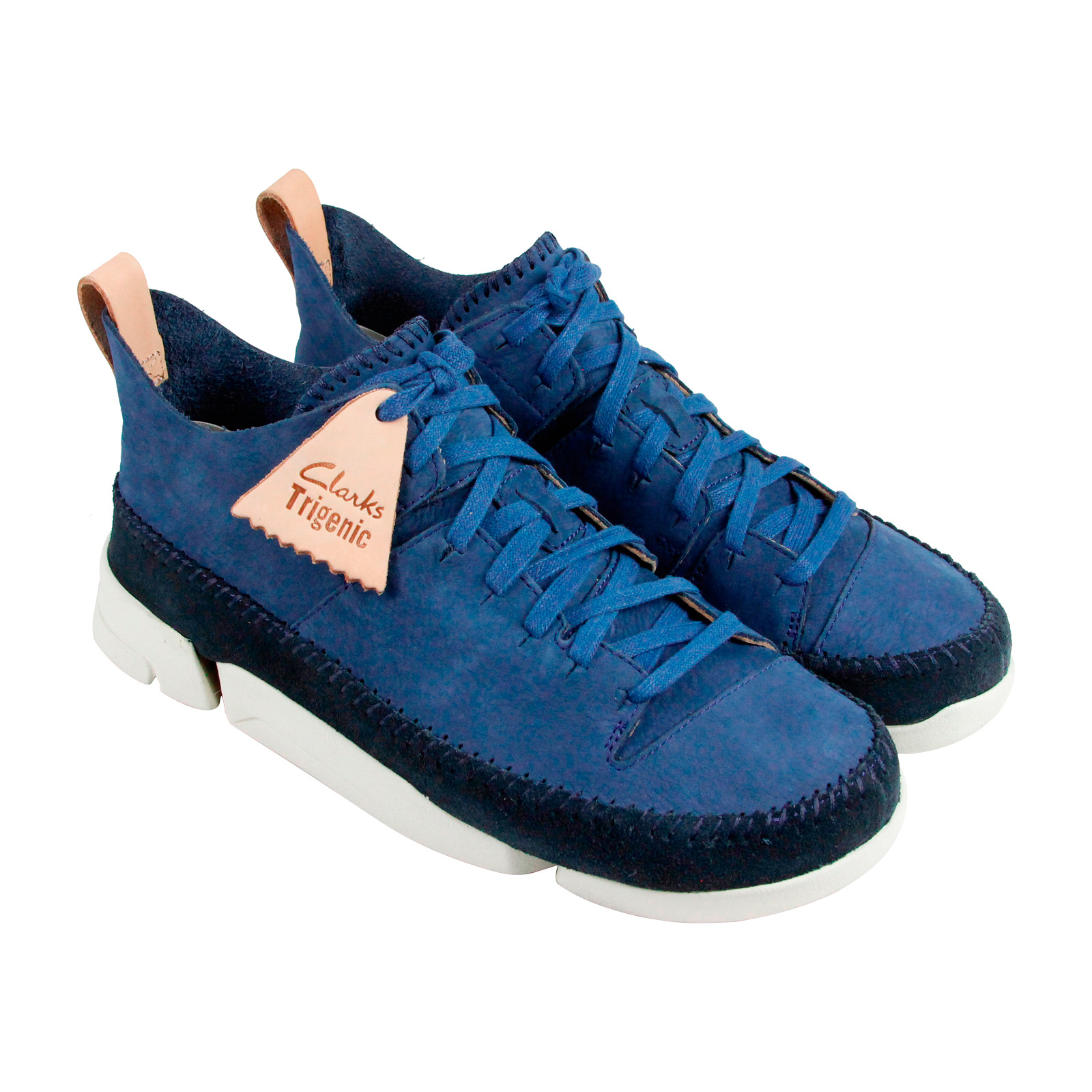 Clarks Trigenic Flex Mens Blue Leather Lace Up Lace Up Sneakers Shoes