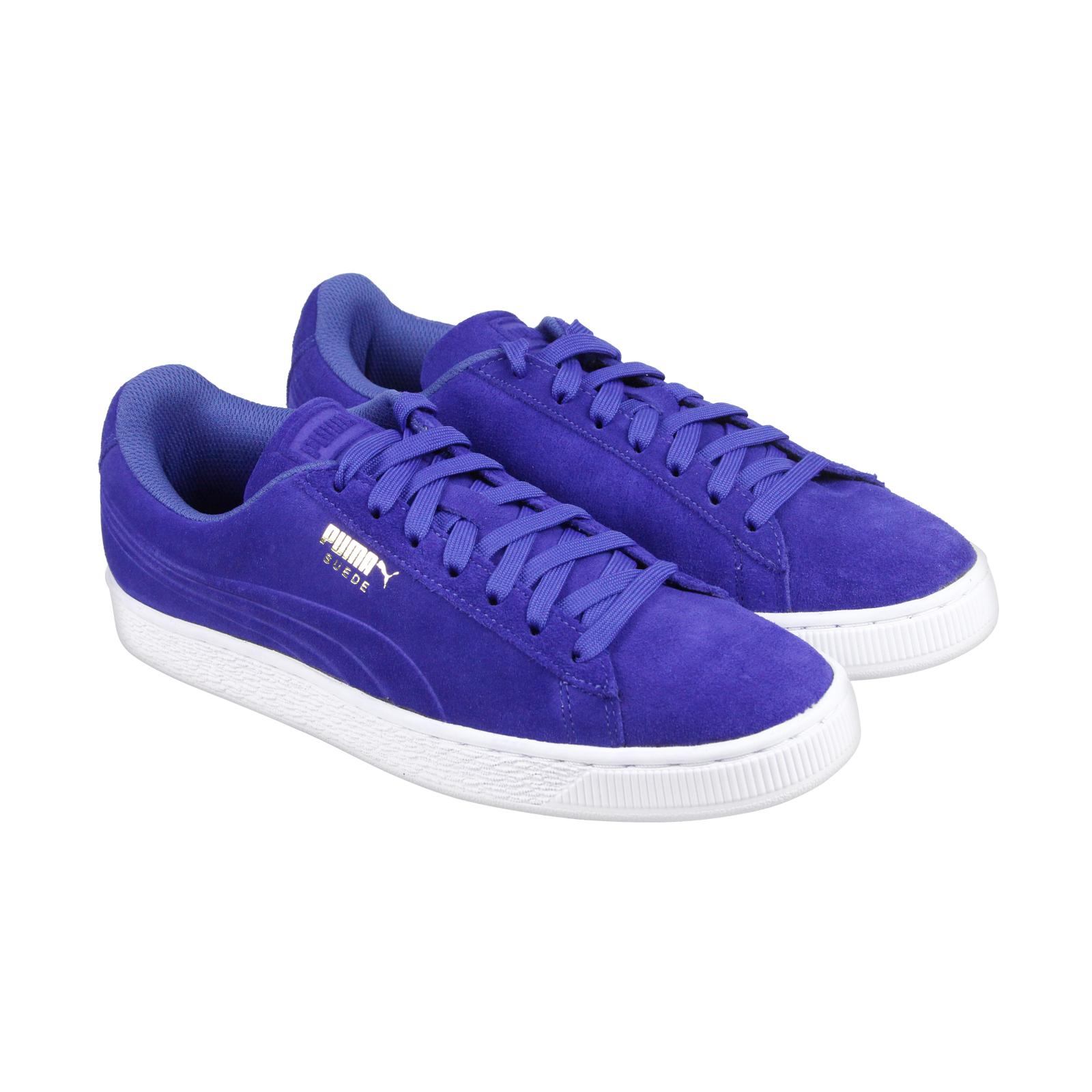 Puma Suede troquelado Q3 Hombre Azul Suede Puma Lace Up zapatos de descuento zapatillas de marca 716ede