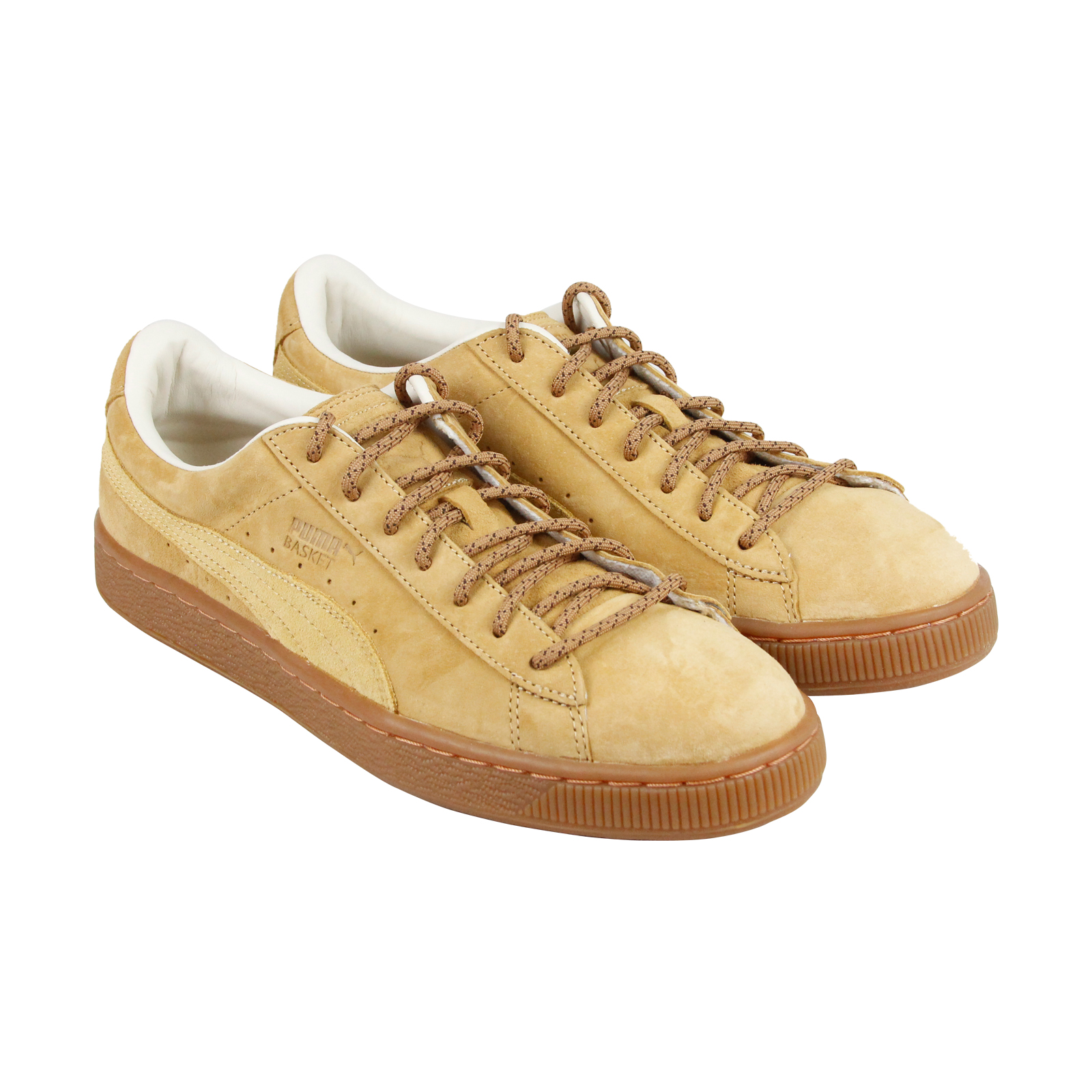 Puma Basket Classic Winterized Mens Tan Leather Lace Up Sneakers Shoes