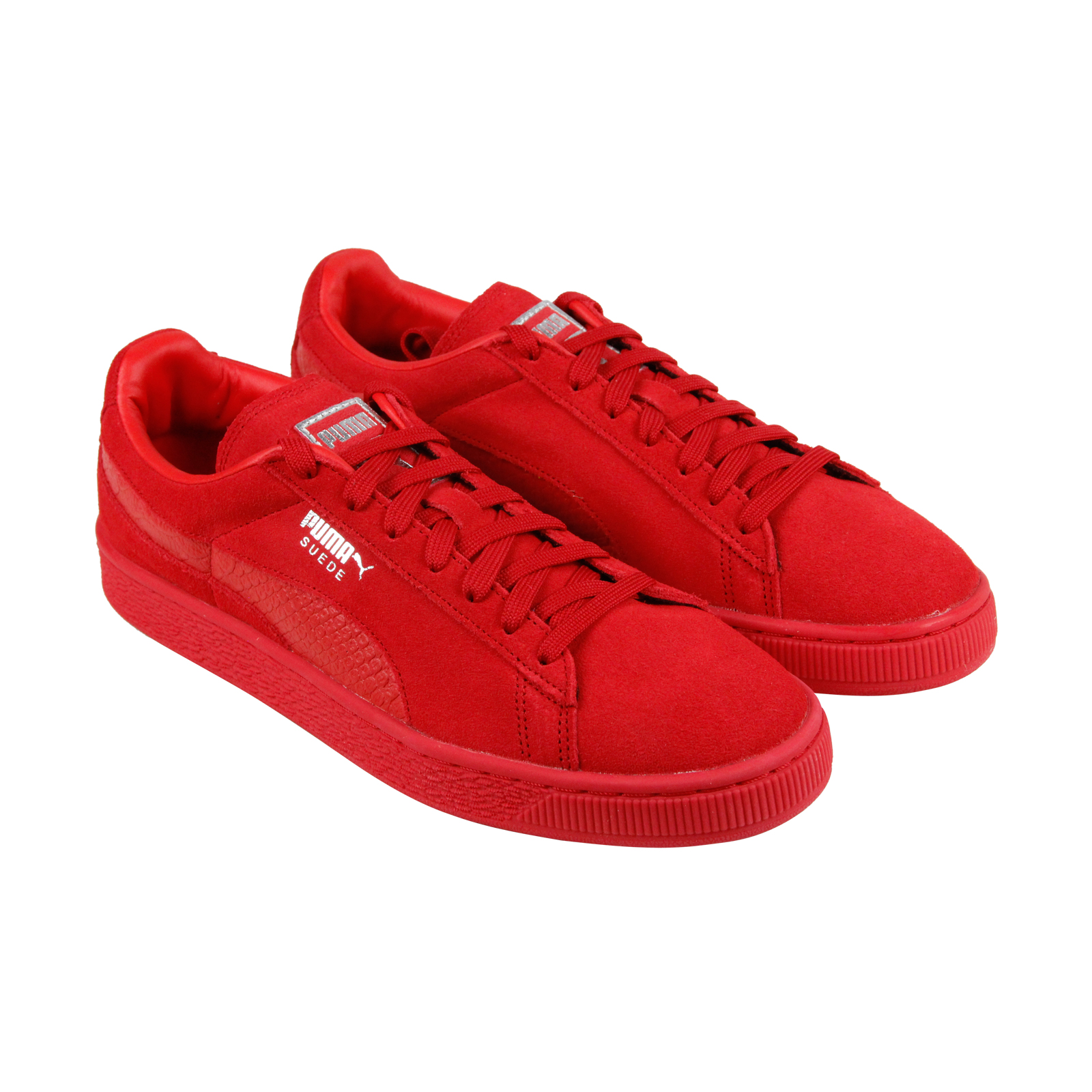 Scarpe casual da uomo Puma Classic Mono Reptile uomos Red Suede Lace Up Sneakers Shoes