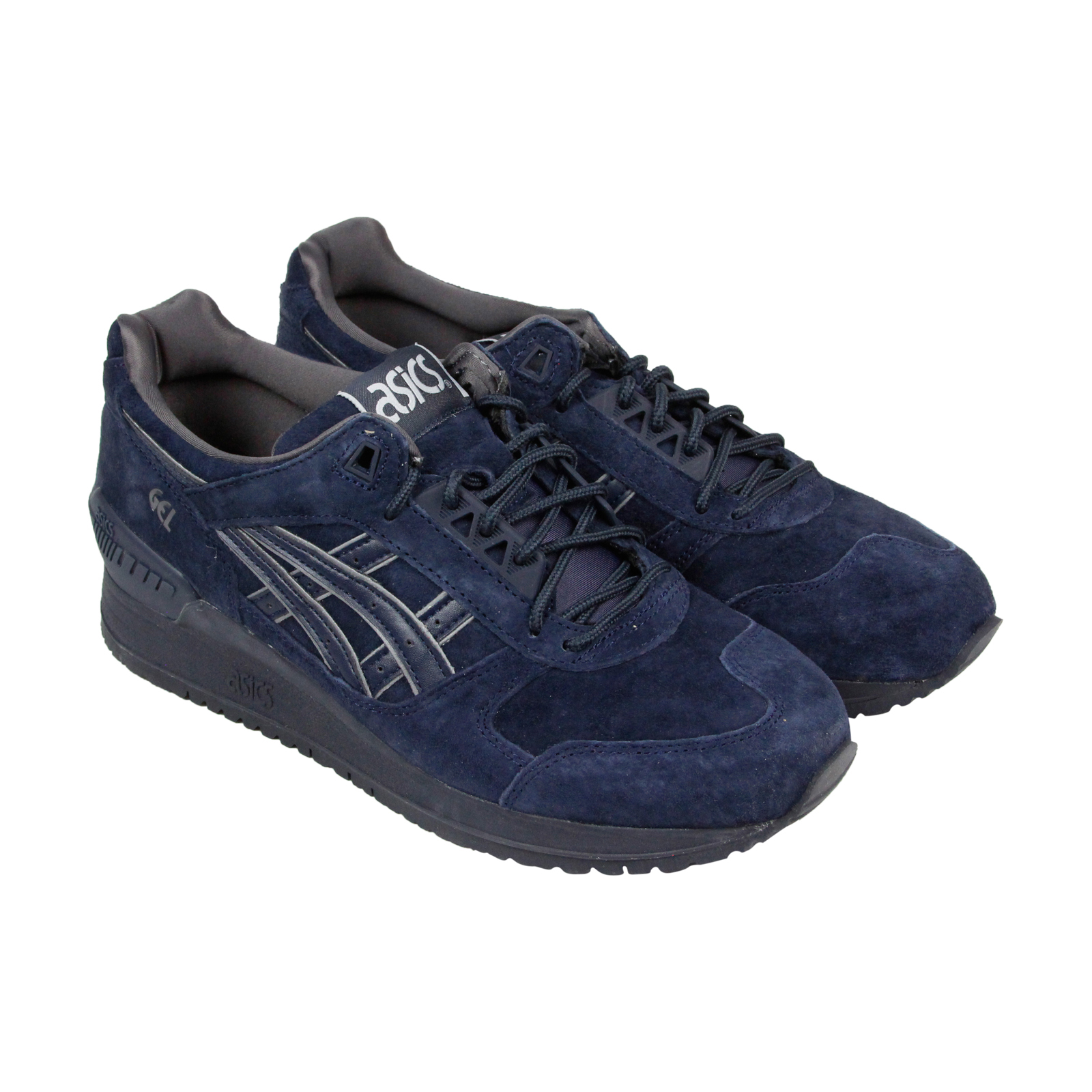 096f820abf0a ASICS GEL RESPECTOR Mens Blue Suede Athletic Lace Up Running Shoes ...