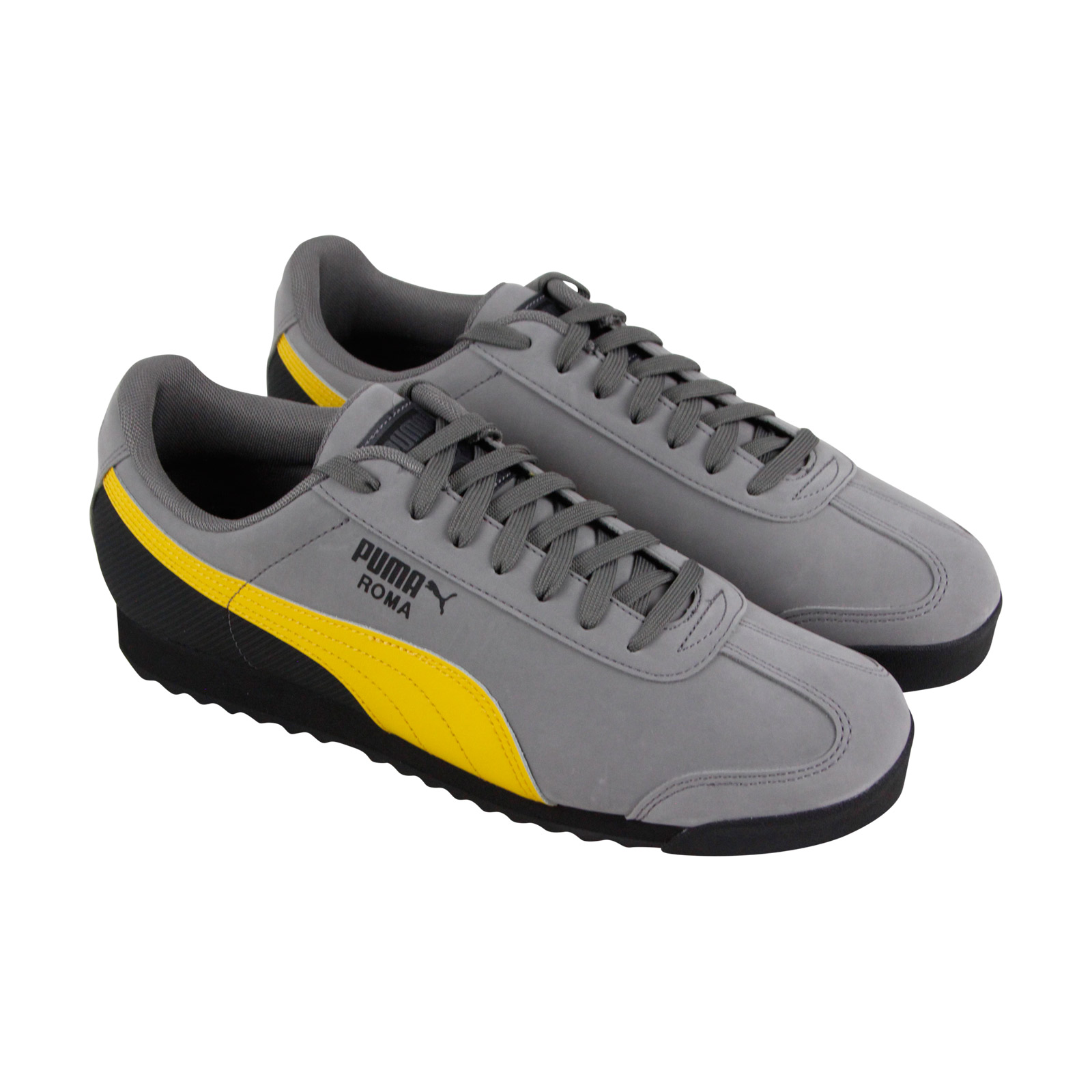 80867cbc91db Image is loading Puma-Roma-Retro-Mens-Gray-Nubuck-Lace-Up-