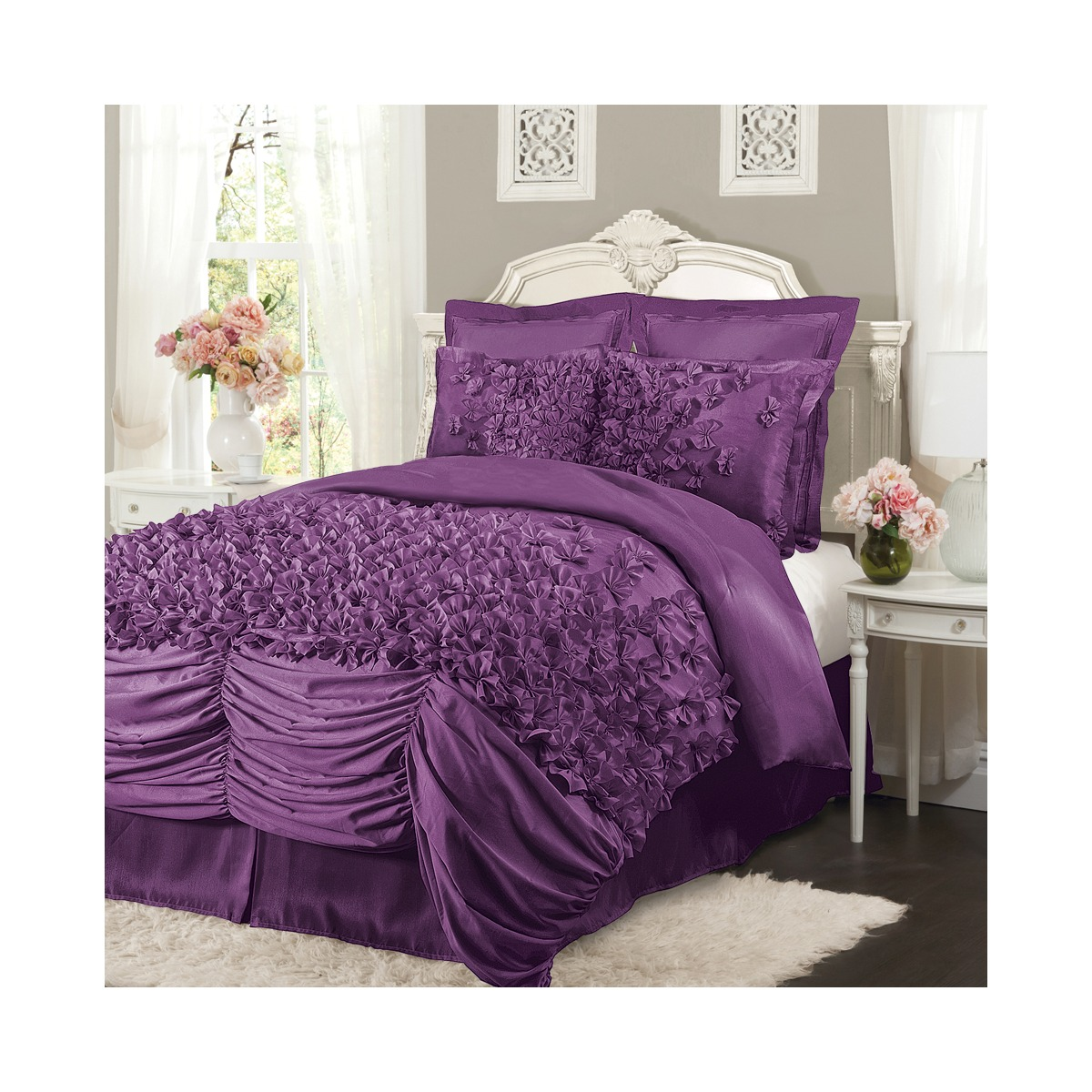 lush lucia purple ruffled king size 4 piece comforter set ebay. Black Bedroom Furniture Sets. Home Design Ideas