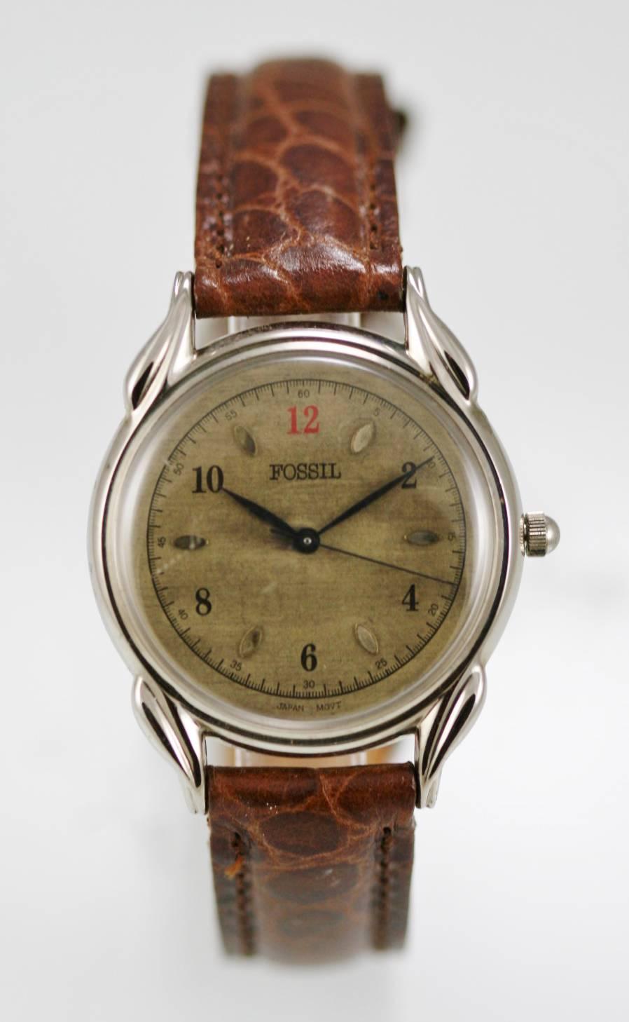2587fa7182e9 Fossil reloj de Mens oro acero inoxidable plata cuero marrón agua resisten  cuarzo