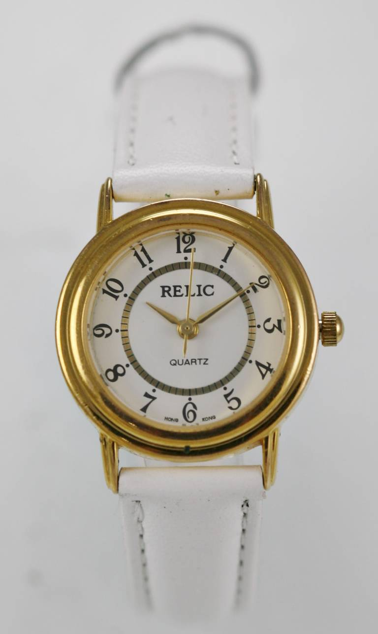 3ecee717121 Details about Relic Watch Womens Stainless Steel Gold Leather White Water  Resistant Quartz