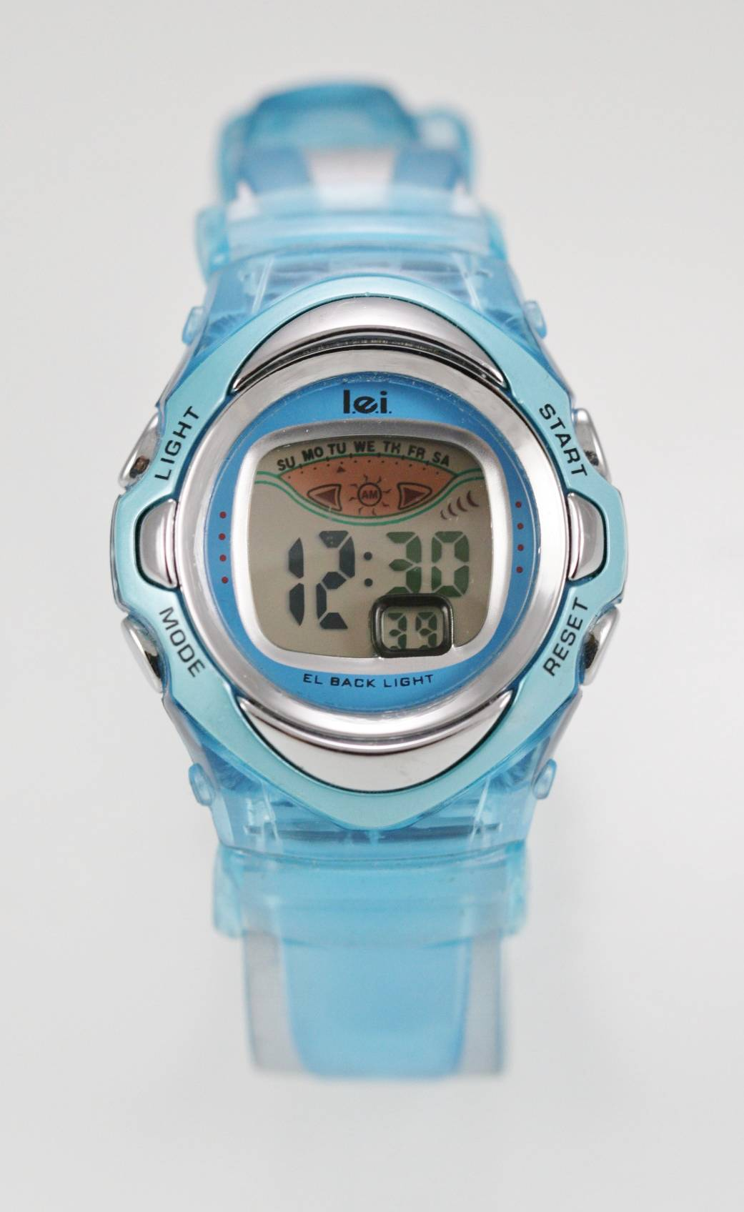 cc5534dca7f6 LEI reloj Unisex fecha alarma luz tope goma azul batería agua resisten  cuarzo