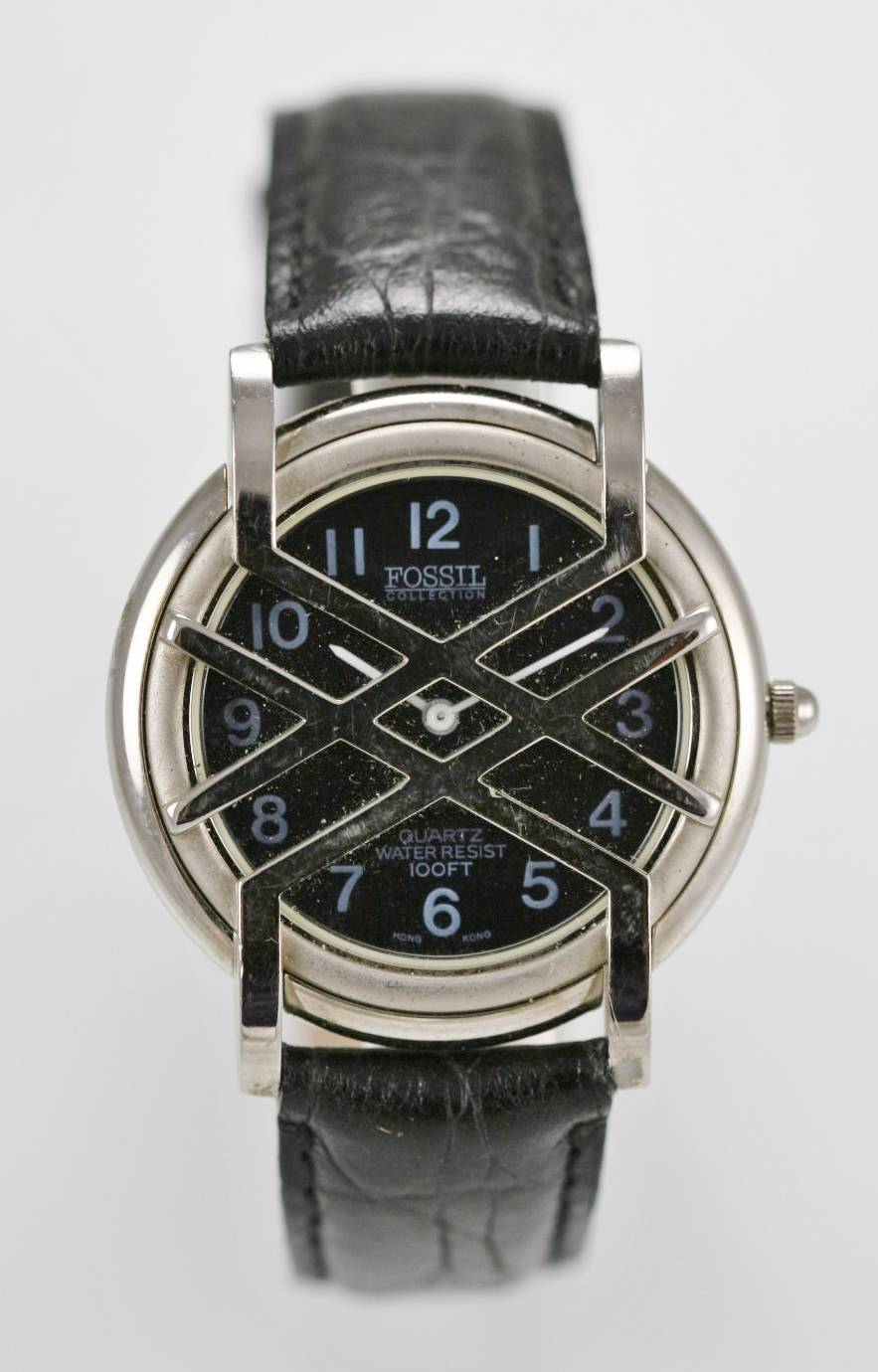 a4047008c473 Fósiles reloj hombres acero inoxidable plata cuero negro resistente al agua  30m cuarzo