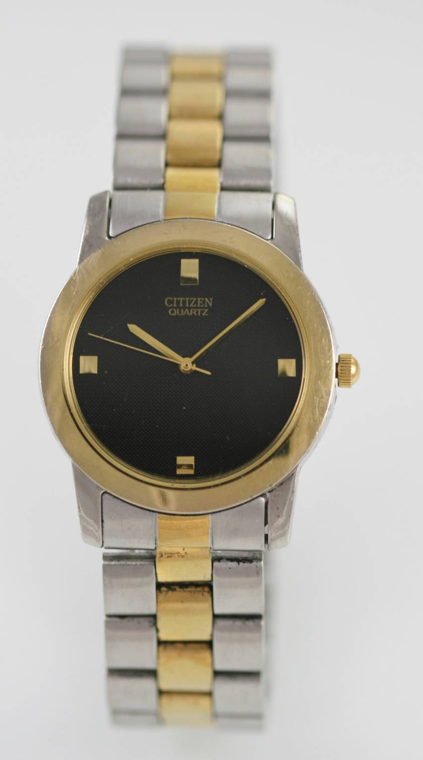 Detalles de Citizen Reloj Hombre Oro Plata Acero Inoxidable Resistente Al Agua Negro Batería