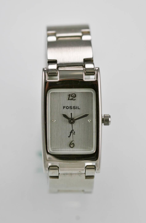 cce6b149fe0a Fósiles F2 reloj mujer acero inoxidable plata agua resisten batería blanco  cuarzo