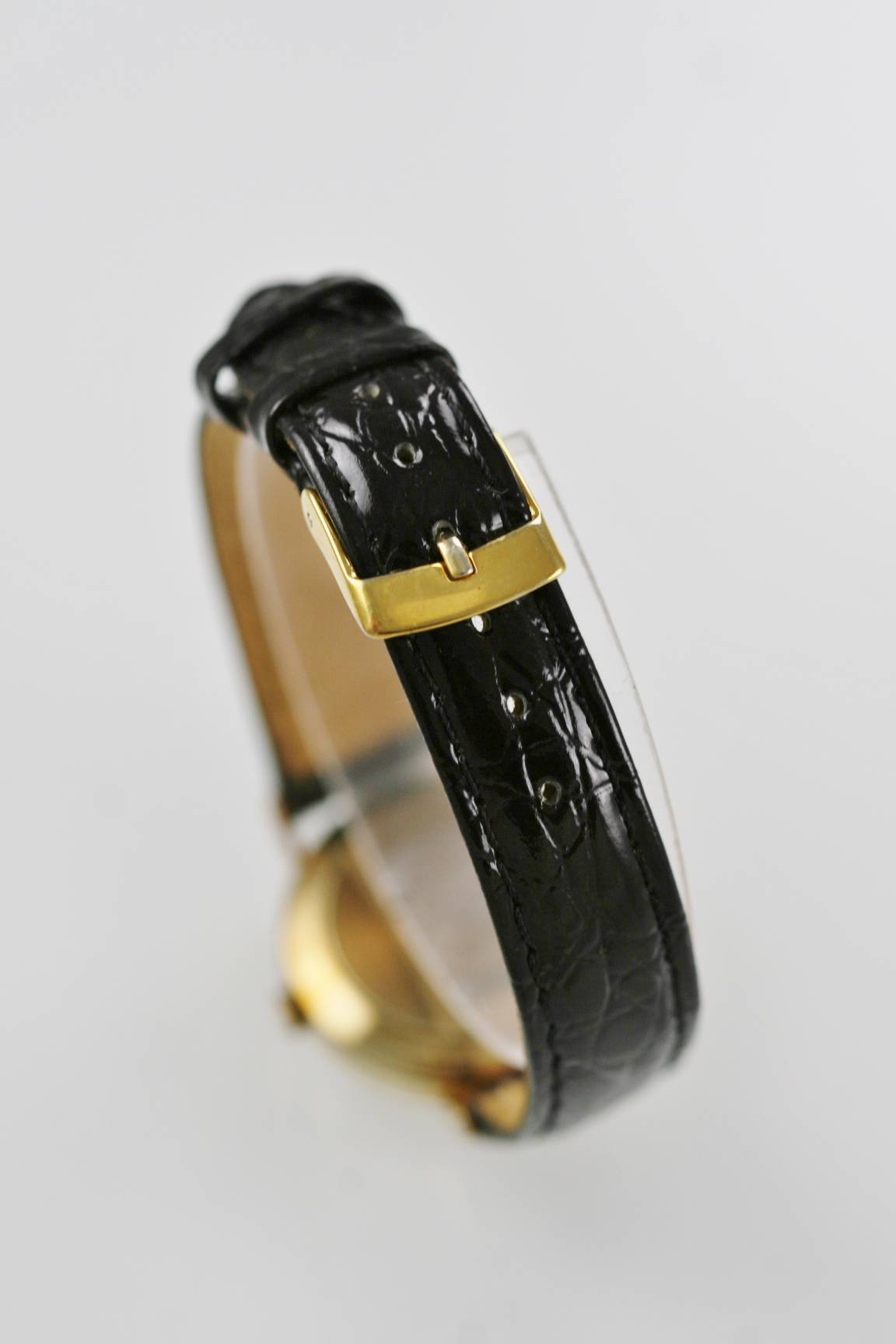 ba5e6fa0c592 Vicence Swiss Watch Women 14K Gold .585 Milor Italy Date Black Leather WR  Quartz