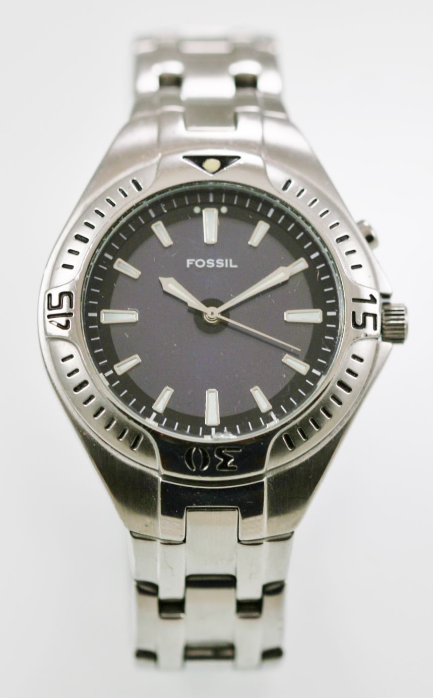 805b4cff48ae Reloj Fossil para hombre Acero inoxidable Plata Resistente al agua 100 m  Cuarzo gris azul