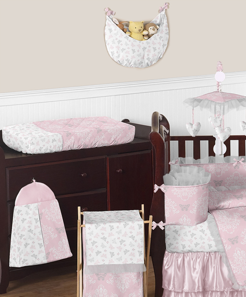 Soft And Elegant Gray And Pink Nursery: Boutique Pink Grey And White Elegant Cute Baby Girl Crib
