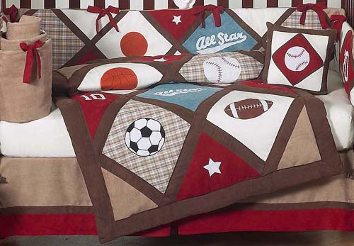 LUXURY ALL STAR SPORTS THEMED BOYS BABY BEDDING 9pc CRIB ...
