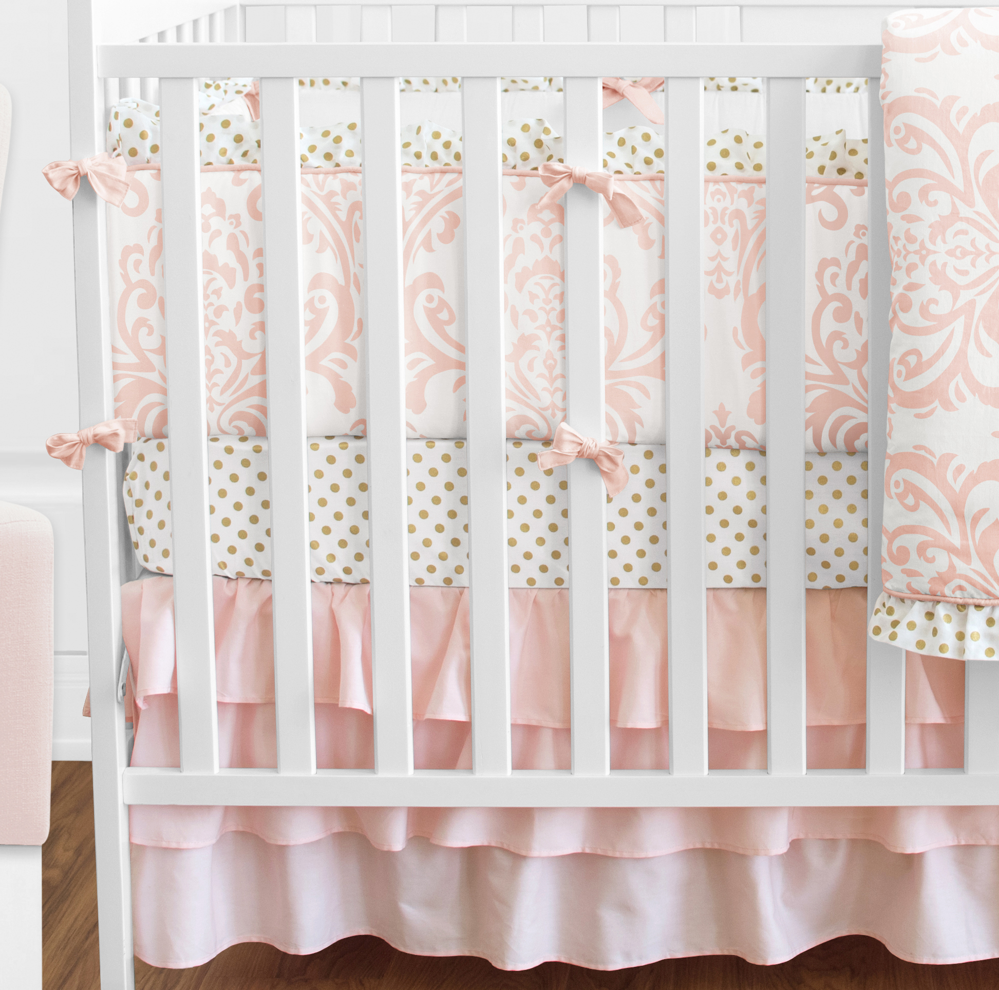 Sweet Jojo Blush Pink White Damask Gold Dot Girl Crib Baby
