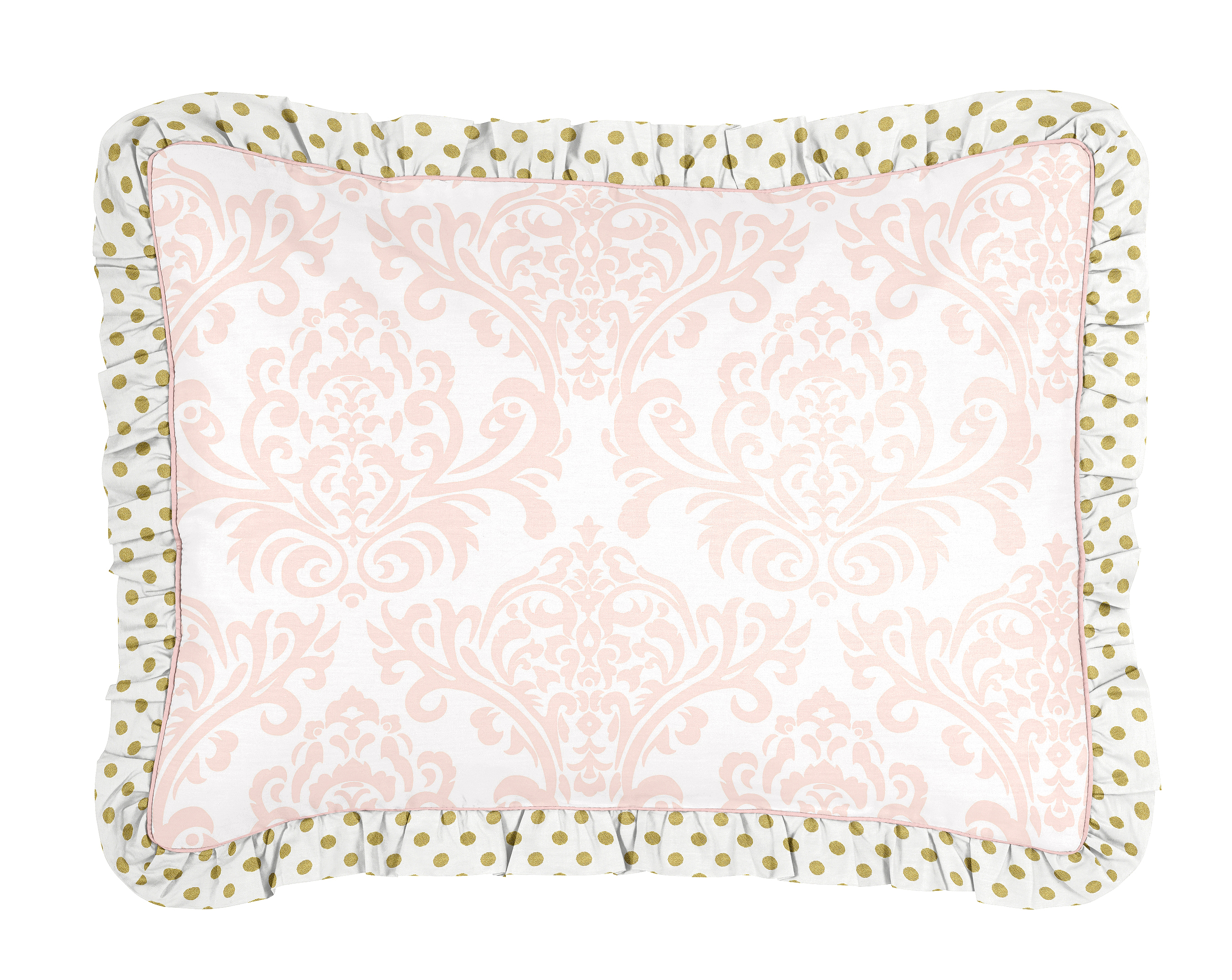 Luxury Pink And White Damask Gold Polka Dot Twin Bedding