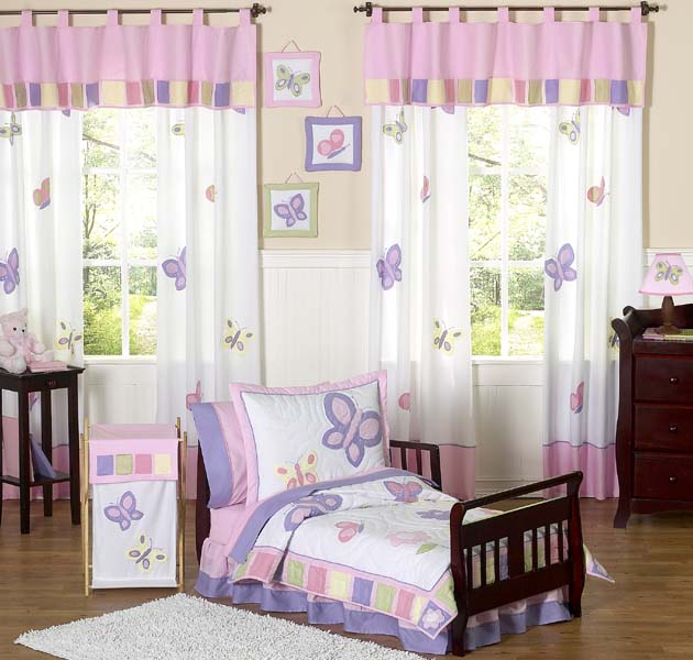 Toddler Girl Bedroom Sets: PINK PURPLE BUTTERFLY GIRL TODDLER SIZE BEDDING FOR KID