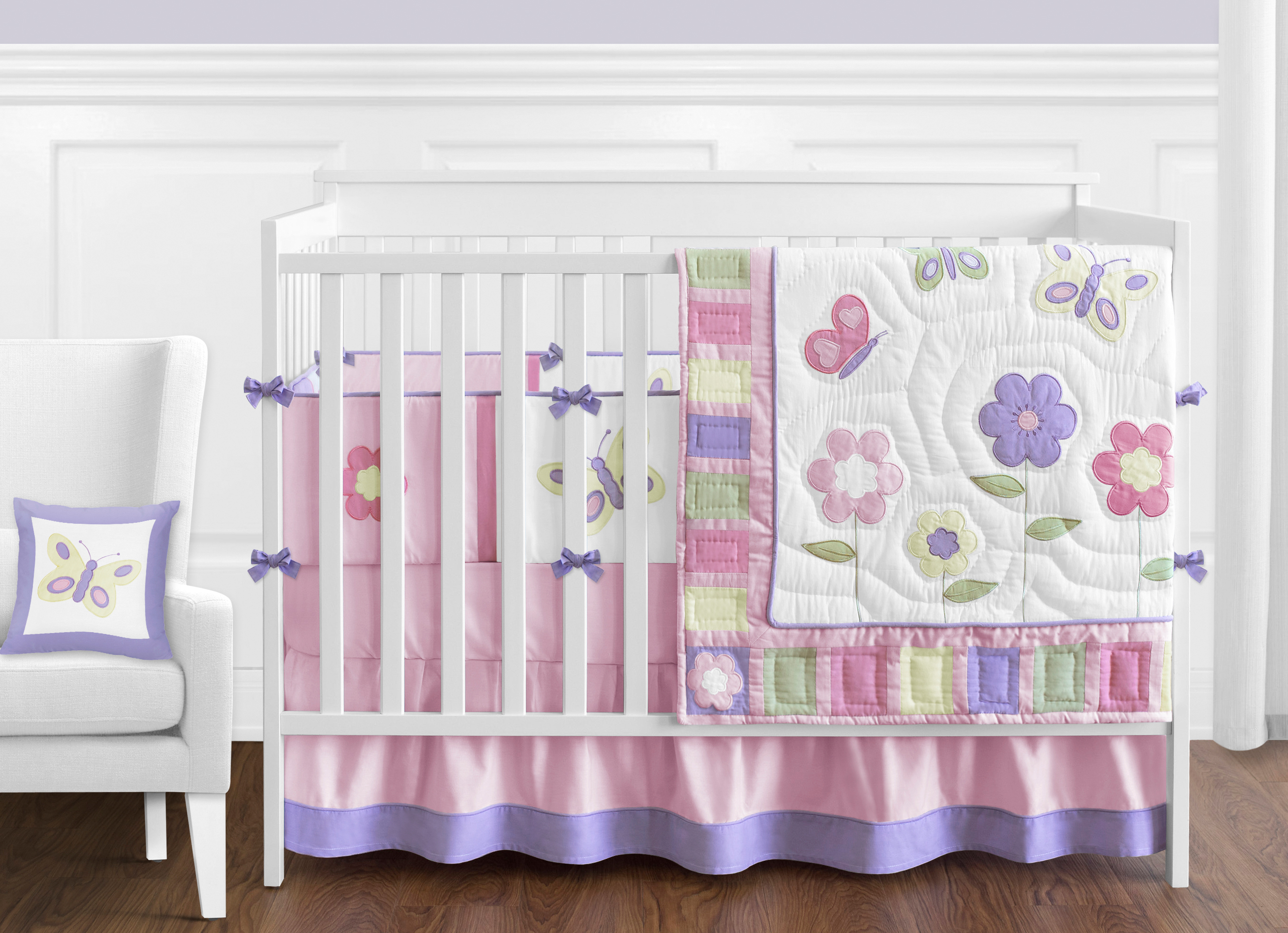 Details About Discount Flower Butterfly Designer 9p Baby Girl Crib Quilt Bedding Comforter Set