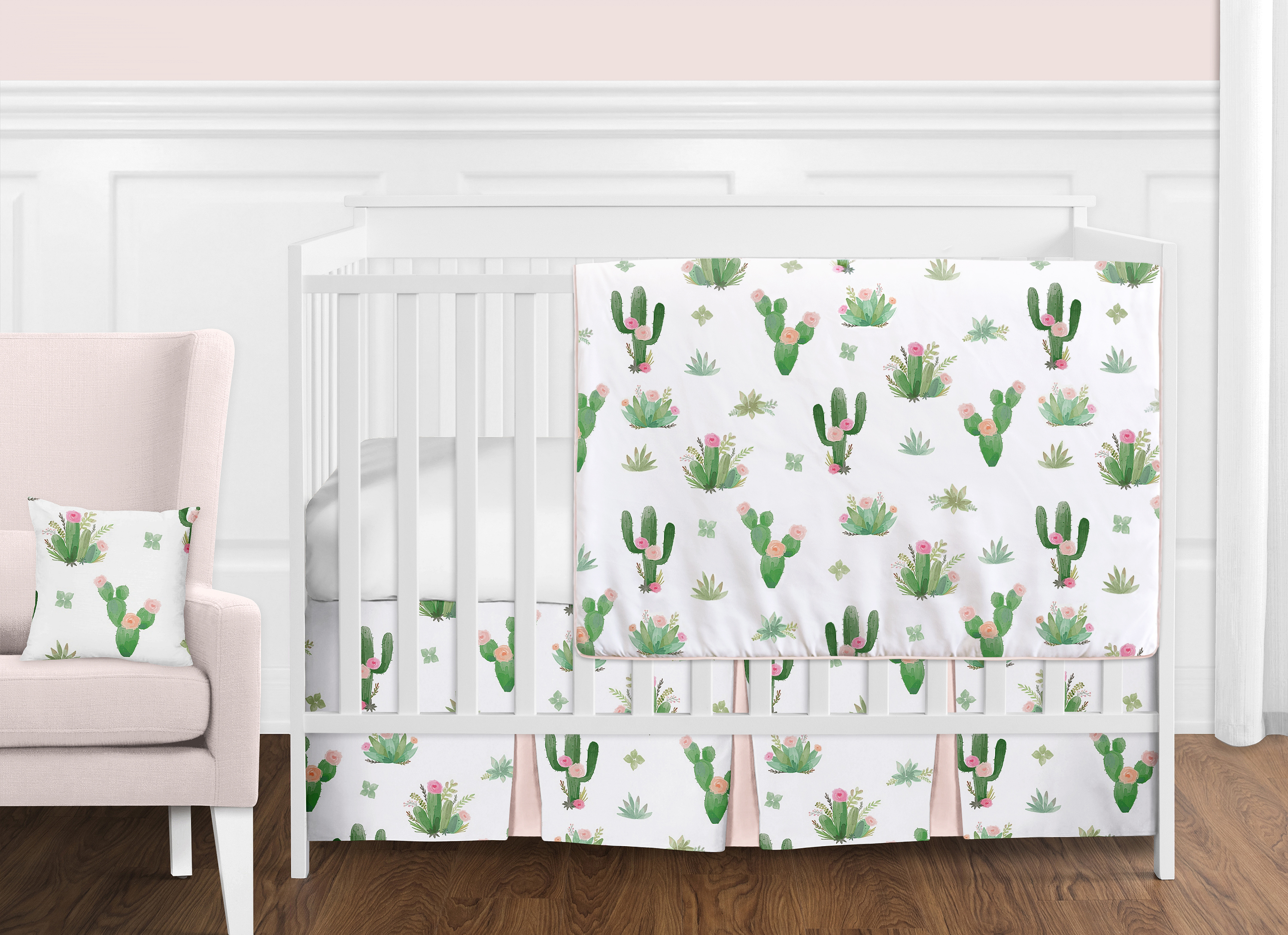 fun over bedding roll image product linens lin br floral floralfun zoom baby cribs pink set crib to