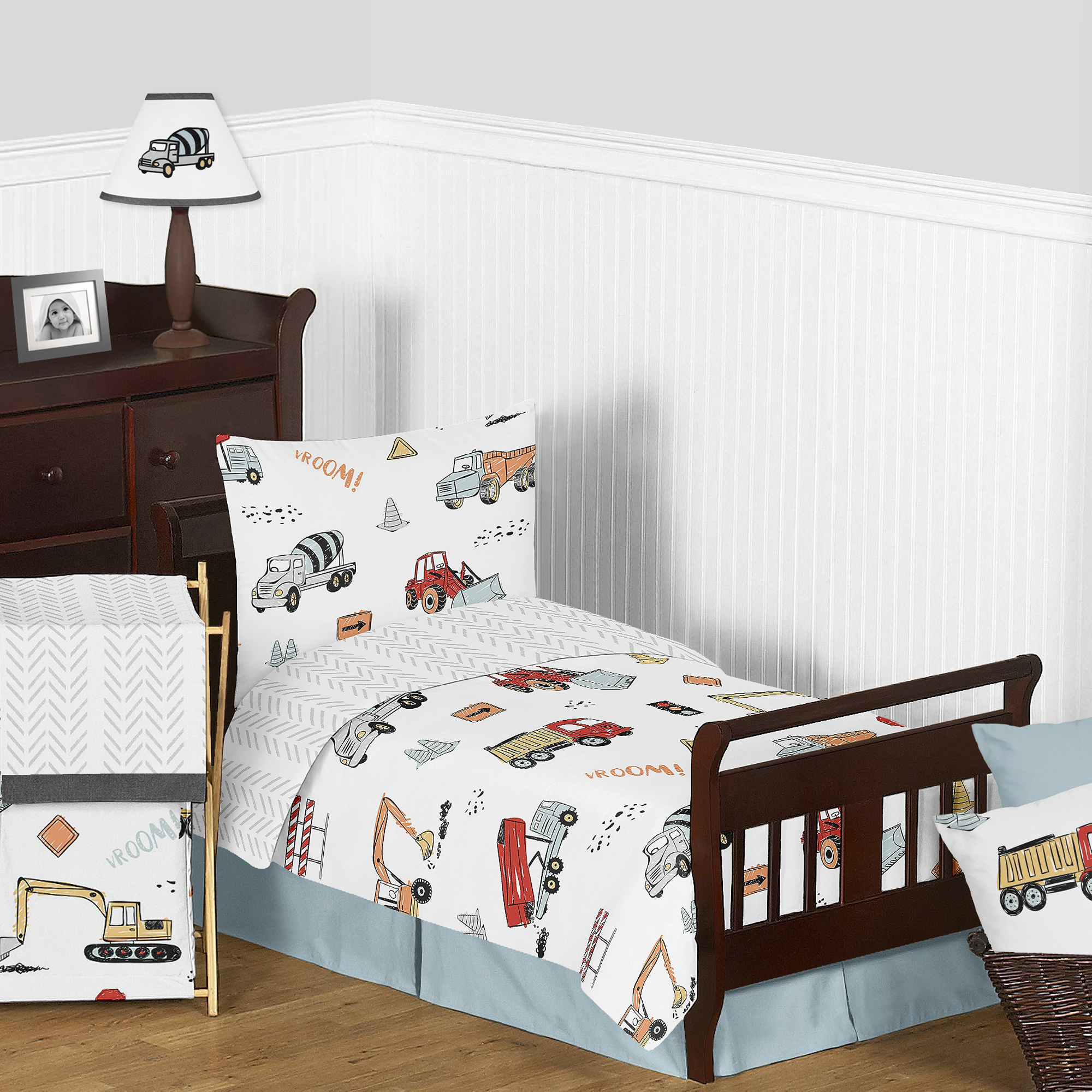 Construction Truck Boy Red and Blue Toddler Comforter ...
