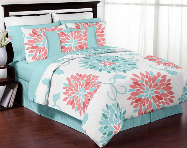 High Quality Details About Sweet Jojo Girls Queen Full Size Flower Turquoise Coral Cheap  Cute Bedding Set