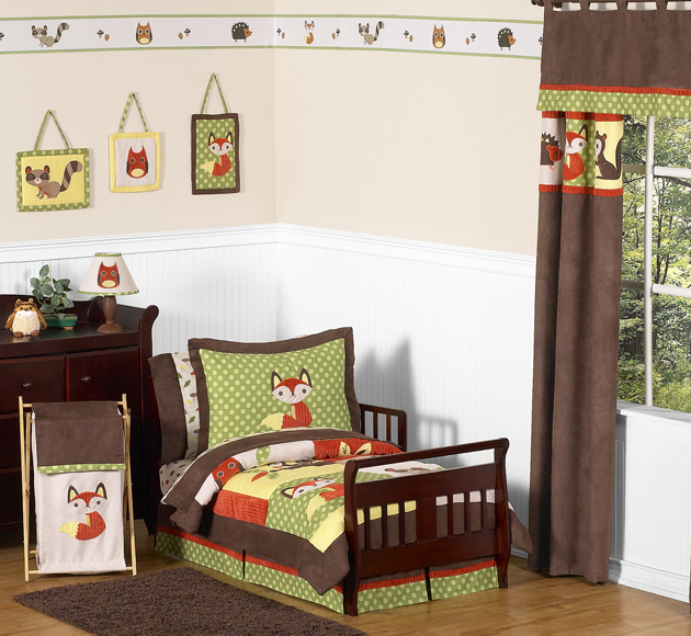 lovely Toddler Bedroom Sets For Boys Part - 17: Jojo Green Brown Forest Animals Owl Nature Boys Toddler Kids Bedding Sheet  Set | eBay
