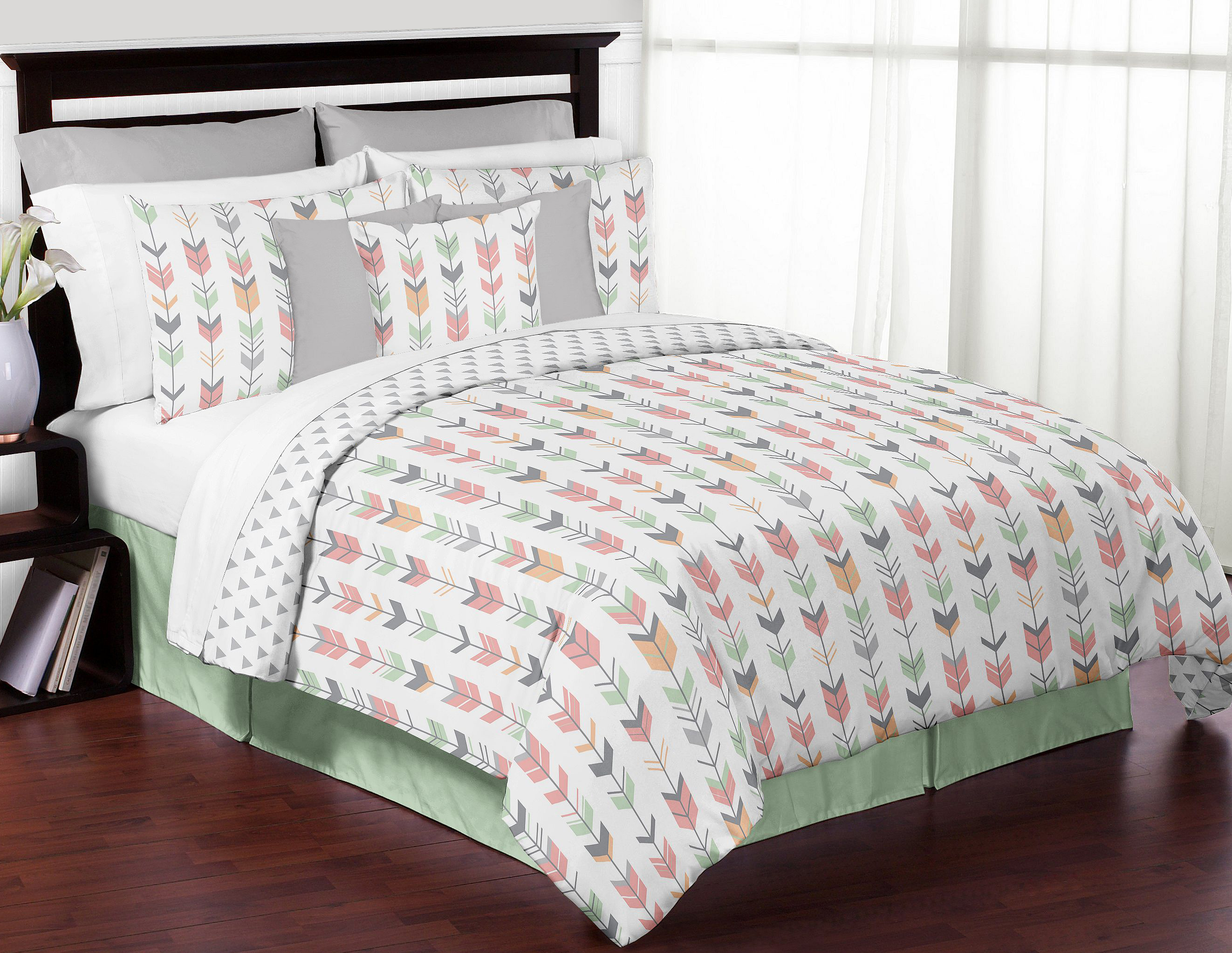 Mint Gray Coral White Queen Full Rustic Woodland Arrow Bed