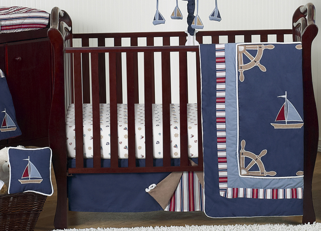 Unique Boy Bedroom Nautical Decor: Bumperless Navy Blue Nautical Boat Themed Baby Boy Crib