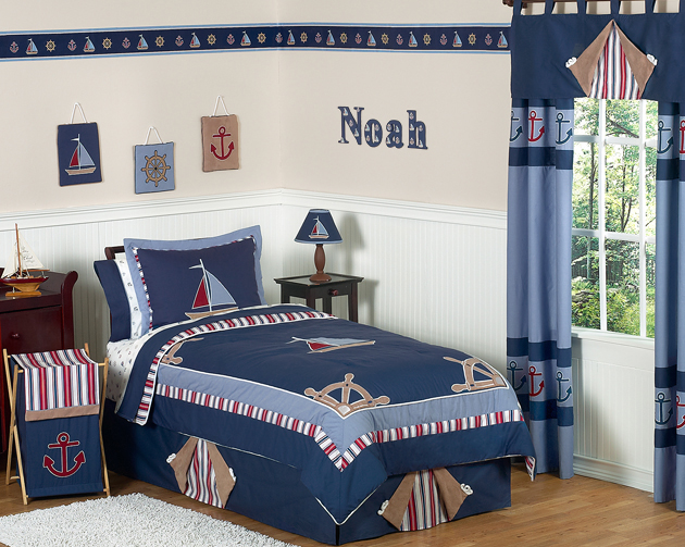 Sweet Jojo Designs Cheap Blue Whte Nautical Sail Boat Kids