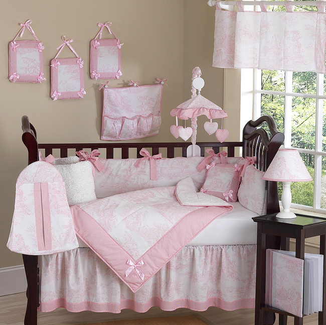 Details about Luxury Boutique French Pink White Toile Discount 9pc Baby  Girl Crib Bedding Set