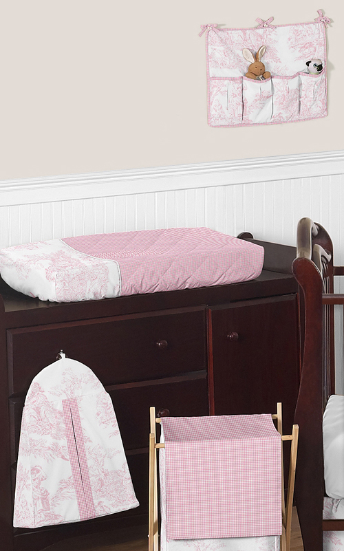 Cheap Baby Bedroom Furniture Sets: Boutique French Pink White Toile Discount Bumperless Baby