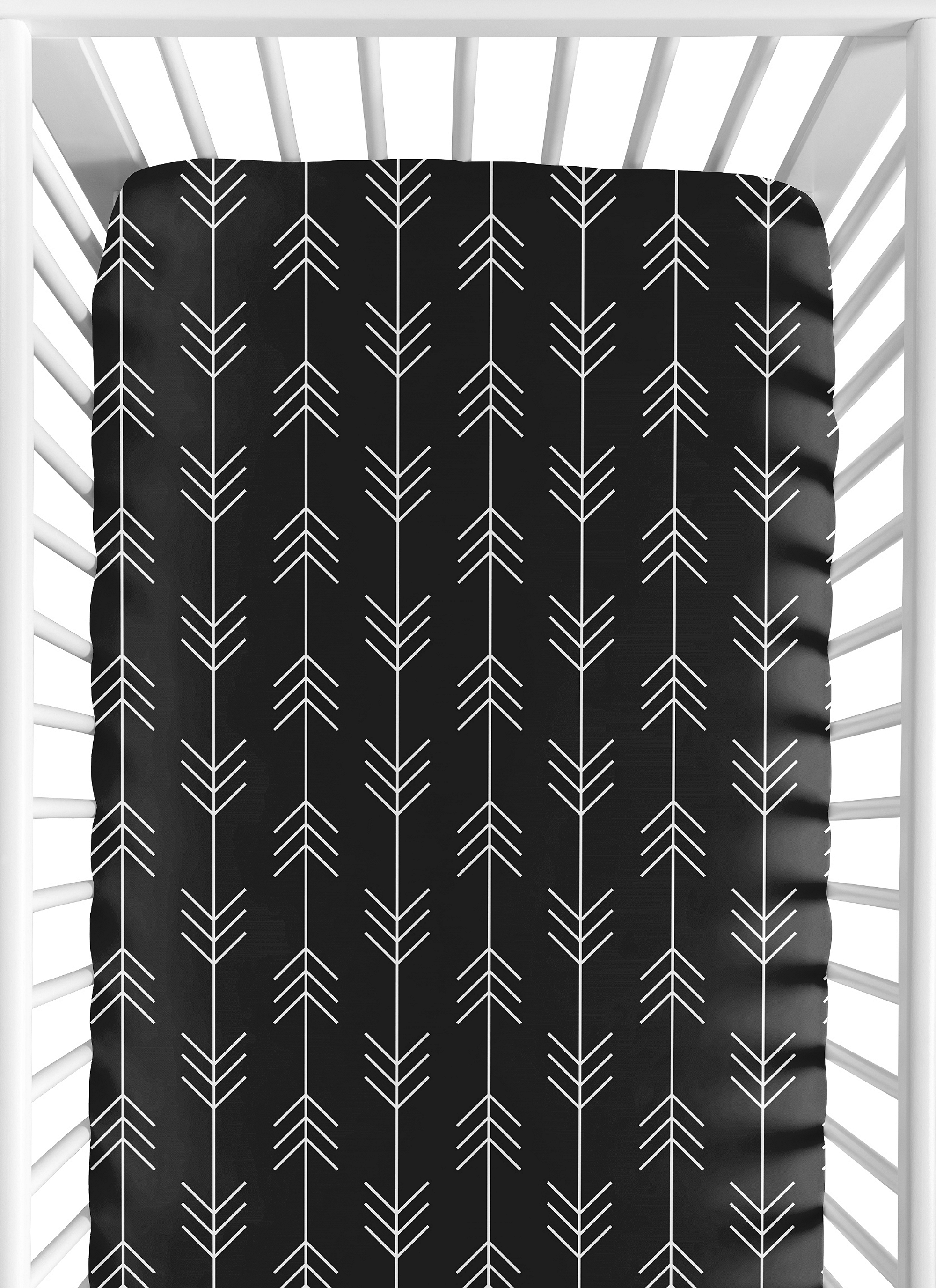 Sweet Jojo Designs Black and White Woodland Arrow Pleated Toddler Bed Skirt Dust Ruffle for Rustic Patch Collection