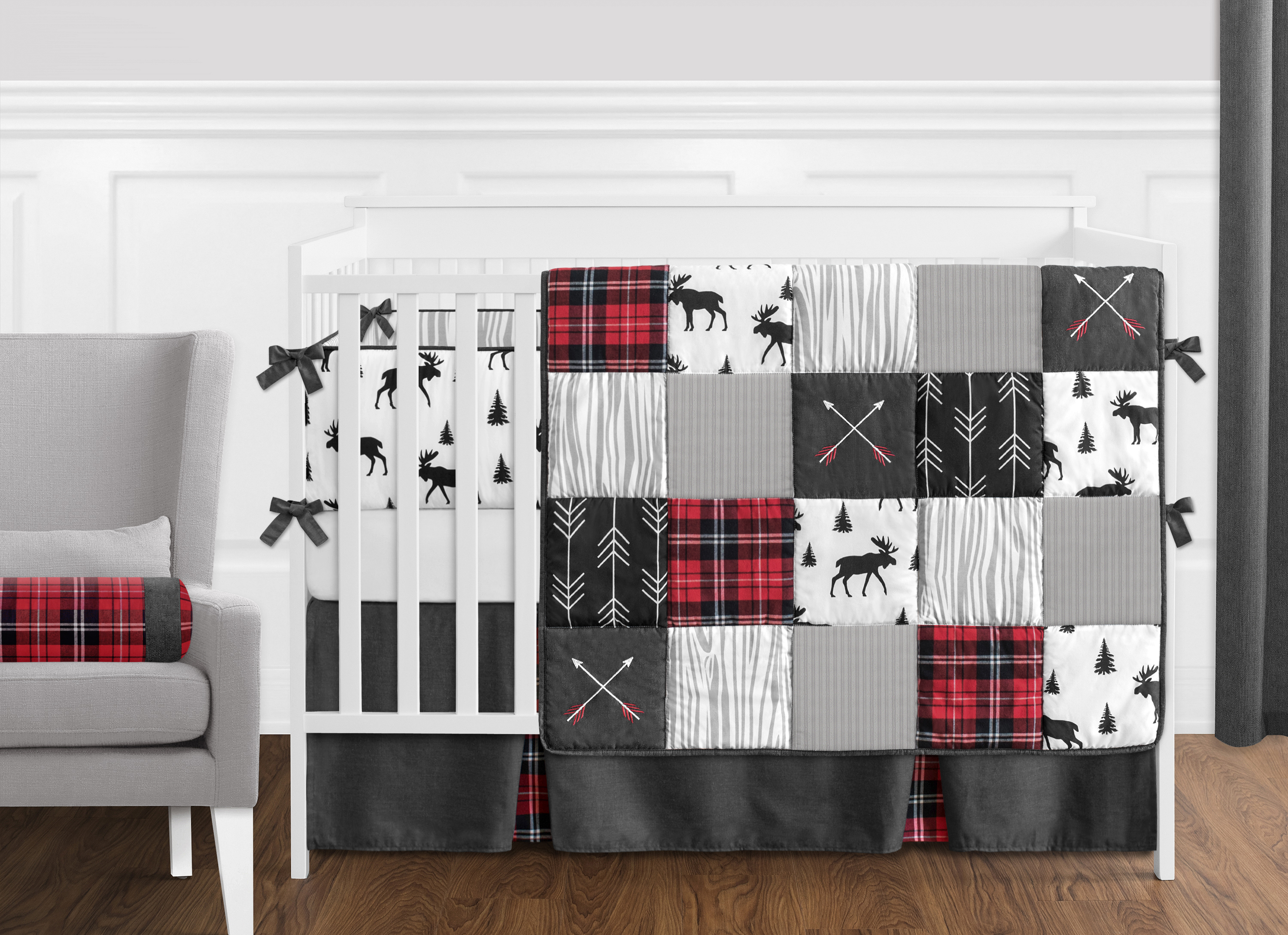 Sweet Jojo Designs Musical Baby Crib Mobile for Navy Blue and Gray Plaid Collection