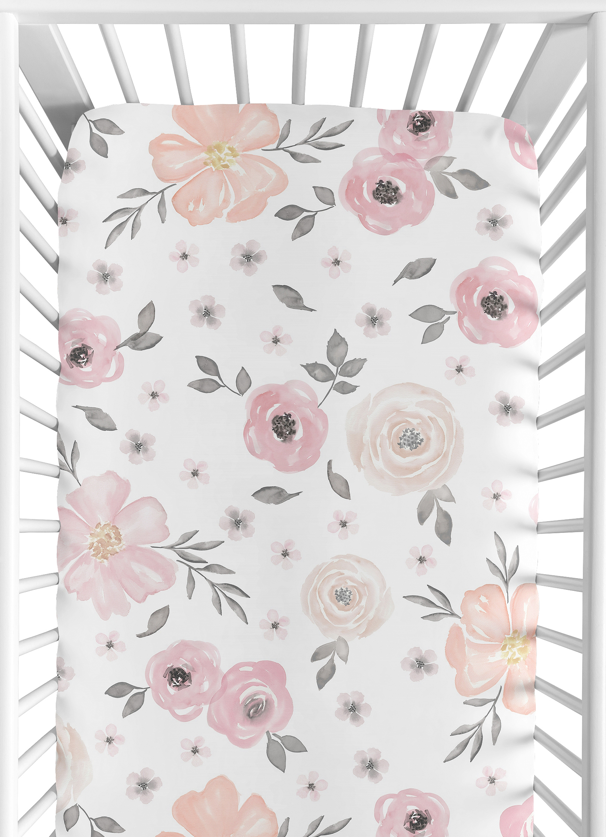 Sweet Jojo Baby Crib Toddler Fitted Sheet For Pink Watercolor Bedding Floral 846480054009 Ebay