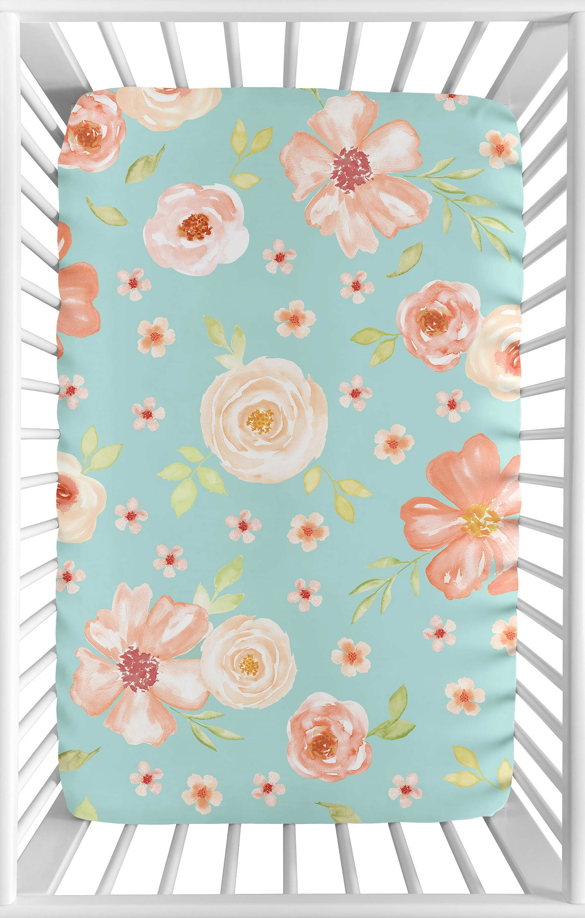 Coral and Turquoise Baby Fitted Mini Portable Crib Sheet for Feather Bedding