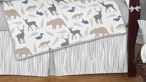 Gray White Forest Animal Safari Deer Fox Bear Neutral Baby