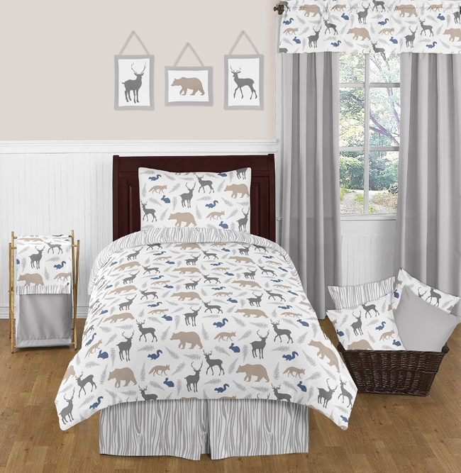 Exceptional Blue Gray And White Kids Animal Safari Twin Size Bed Boys Bedroom Comforter  Set | EBay