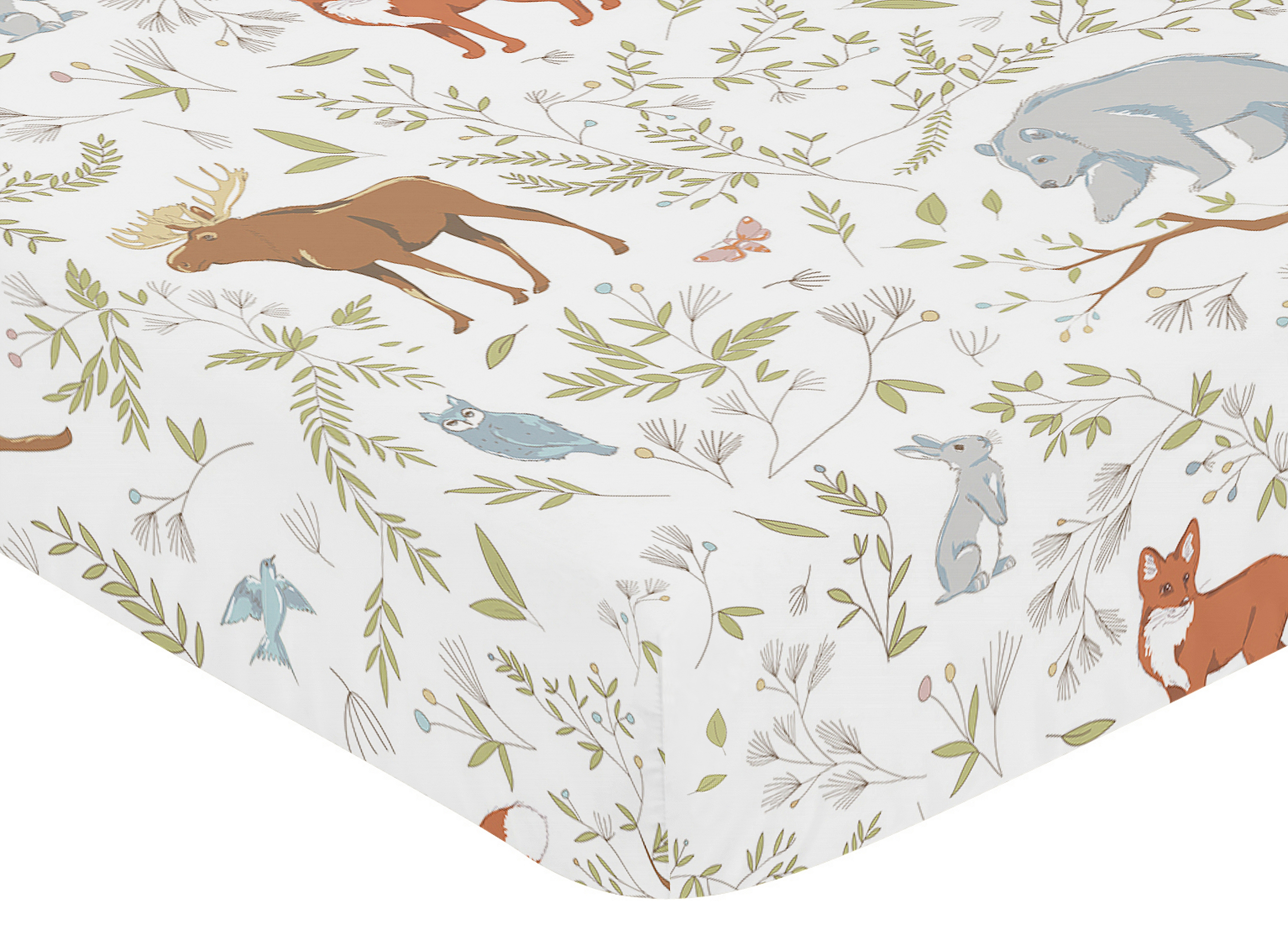 Sweet Jojo Fitted Crib Toddler Bed Sheet Woodland Toile