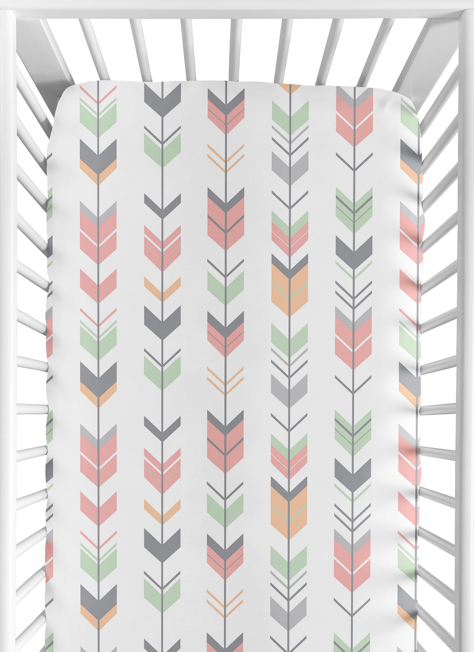 Sweet Jojo Fitted Baby Crib Toddler Sheet For Coral Woodsy Bedding Arrow Print 846480043225 Ebay