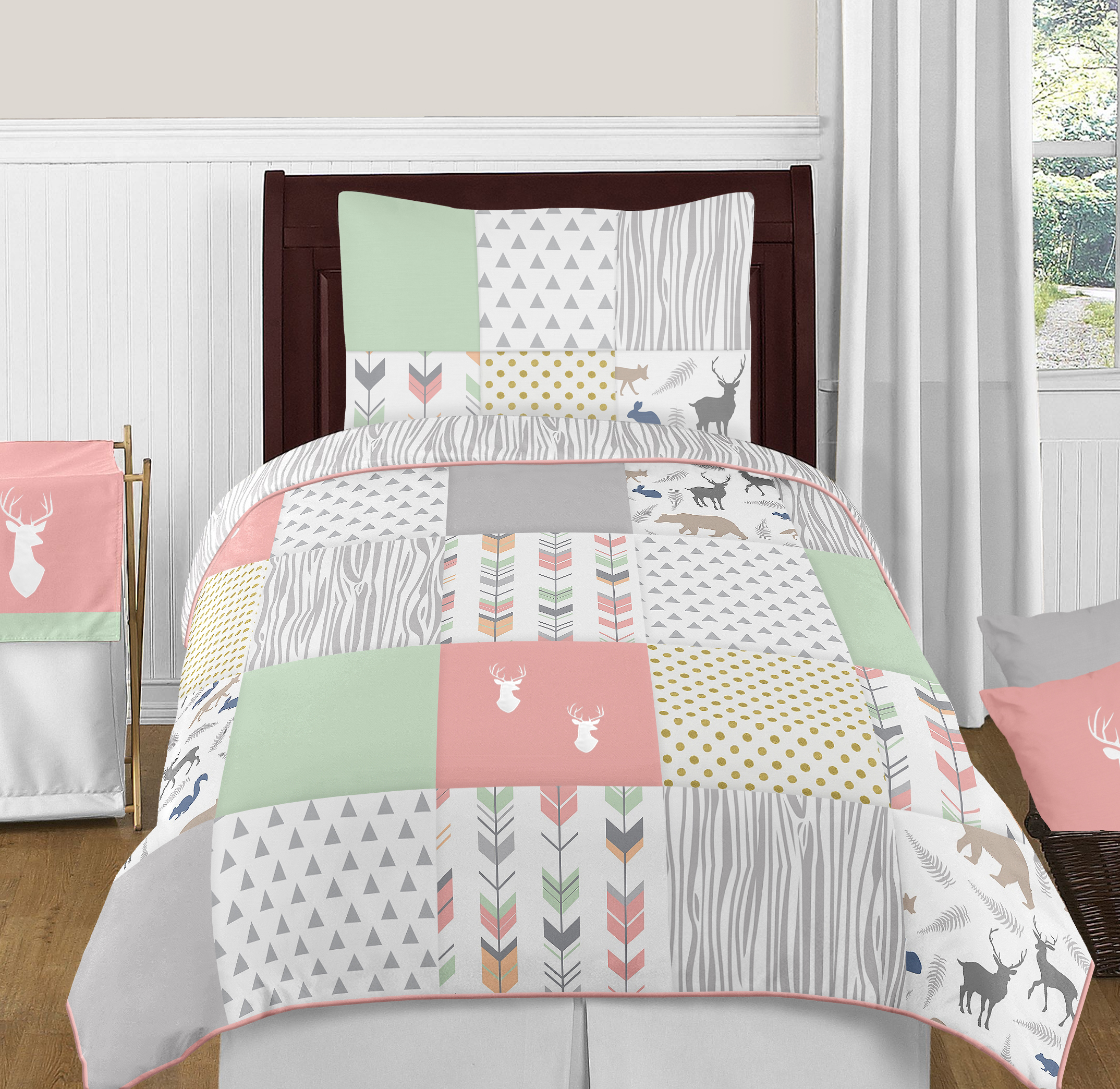 Coral And Gray Bedroom: Mint Coral Grey Gold Dot Modern Woodland Arrow Girl