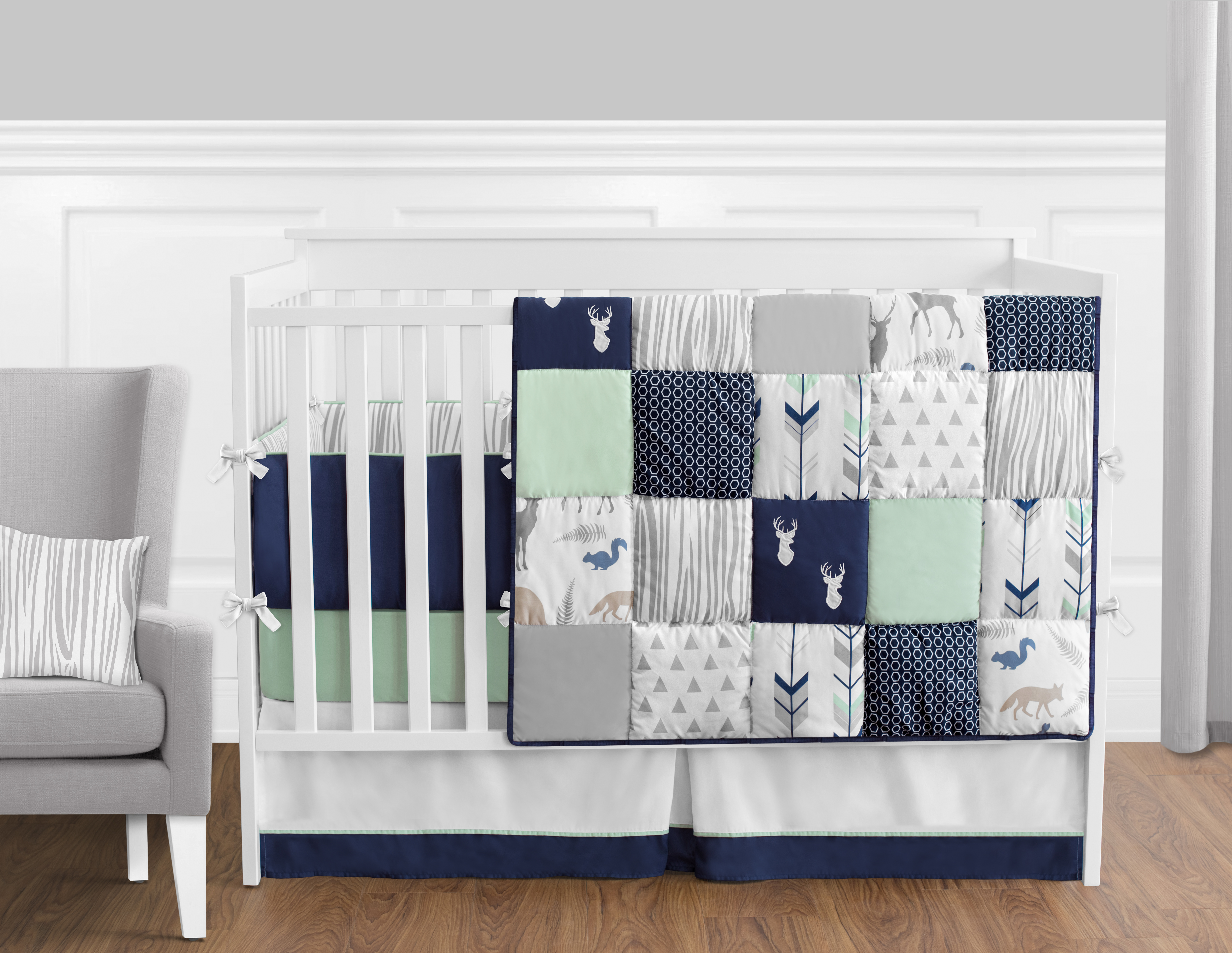 Sweet Jojo Designs Navy Blue Mint And Grey Crib Bed Skirt Dust Ruffle For Boys Or