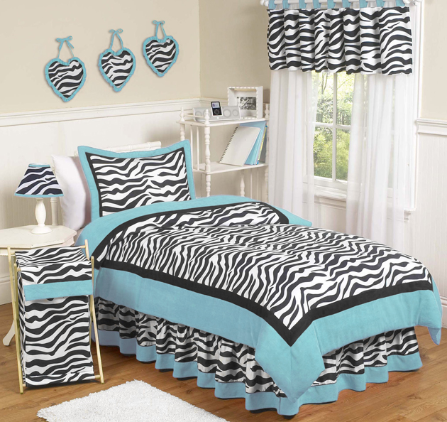 Turquoise Blue Black Zebra Print Teen Kids Twin Girl Jojo