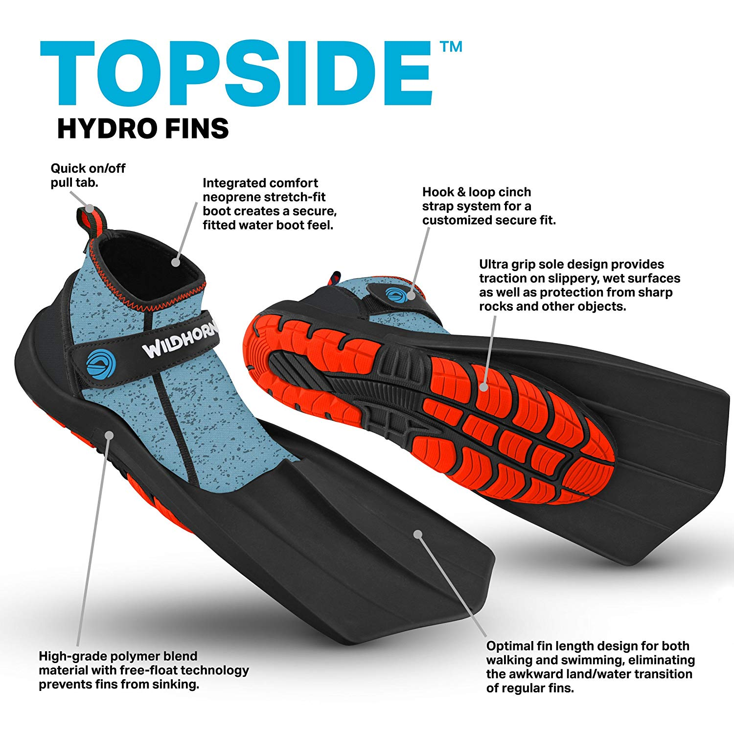 WildHorn-Outfitters-Topside-Fins-Compact-Snorkeling-Flippers thumbnail 7