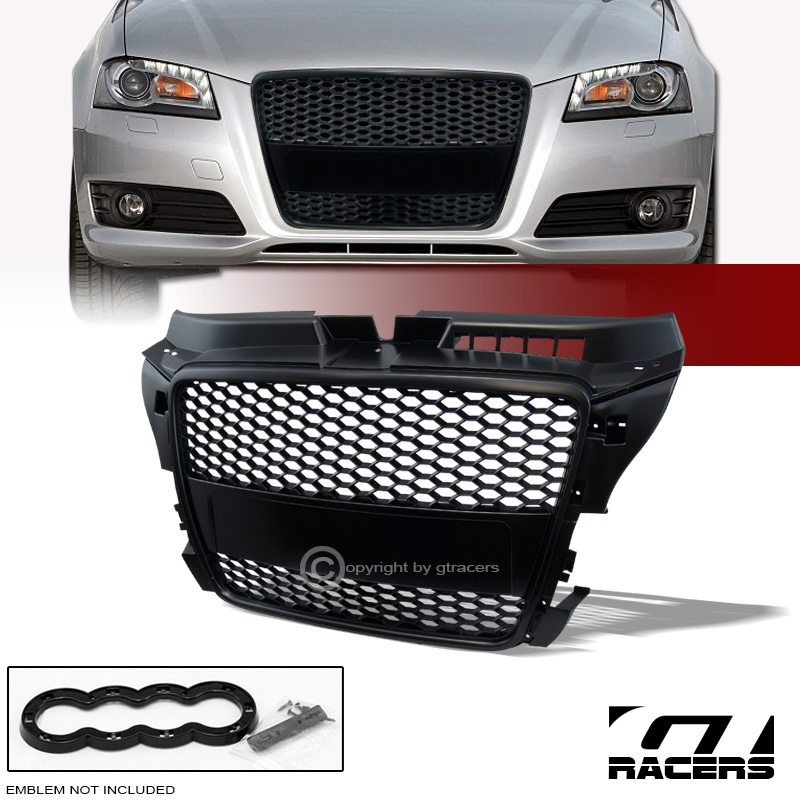 for 08 11 audi a3 8p black rs honeycomb mesh front bumper. Black Bedroom Furniture Sets. Home Design Ideas