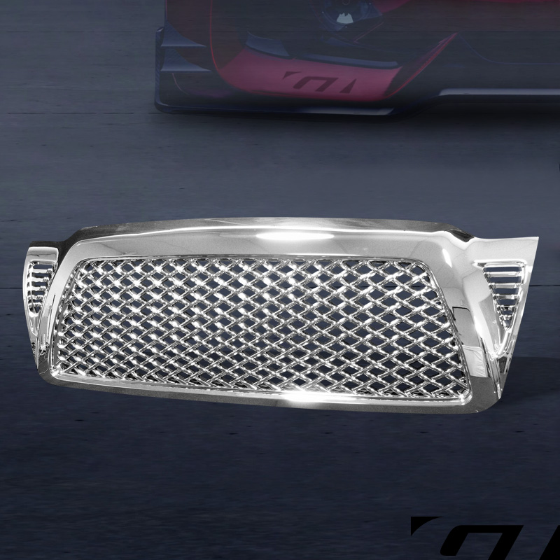 For 05 09 Toyota Tacoma Chrome Honeycomb Mesh Front Bumper