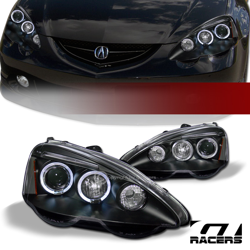 FOR 2002-2004 ACURA RSX DC5 BLACK DRL LED HALO RIMS