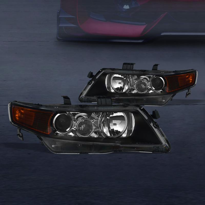 FOR 2004-2008 ACURA TSX CL9 BLACK PROJECTOR HEAD LIGHTS