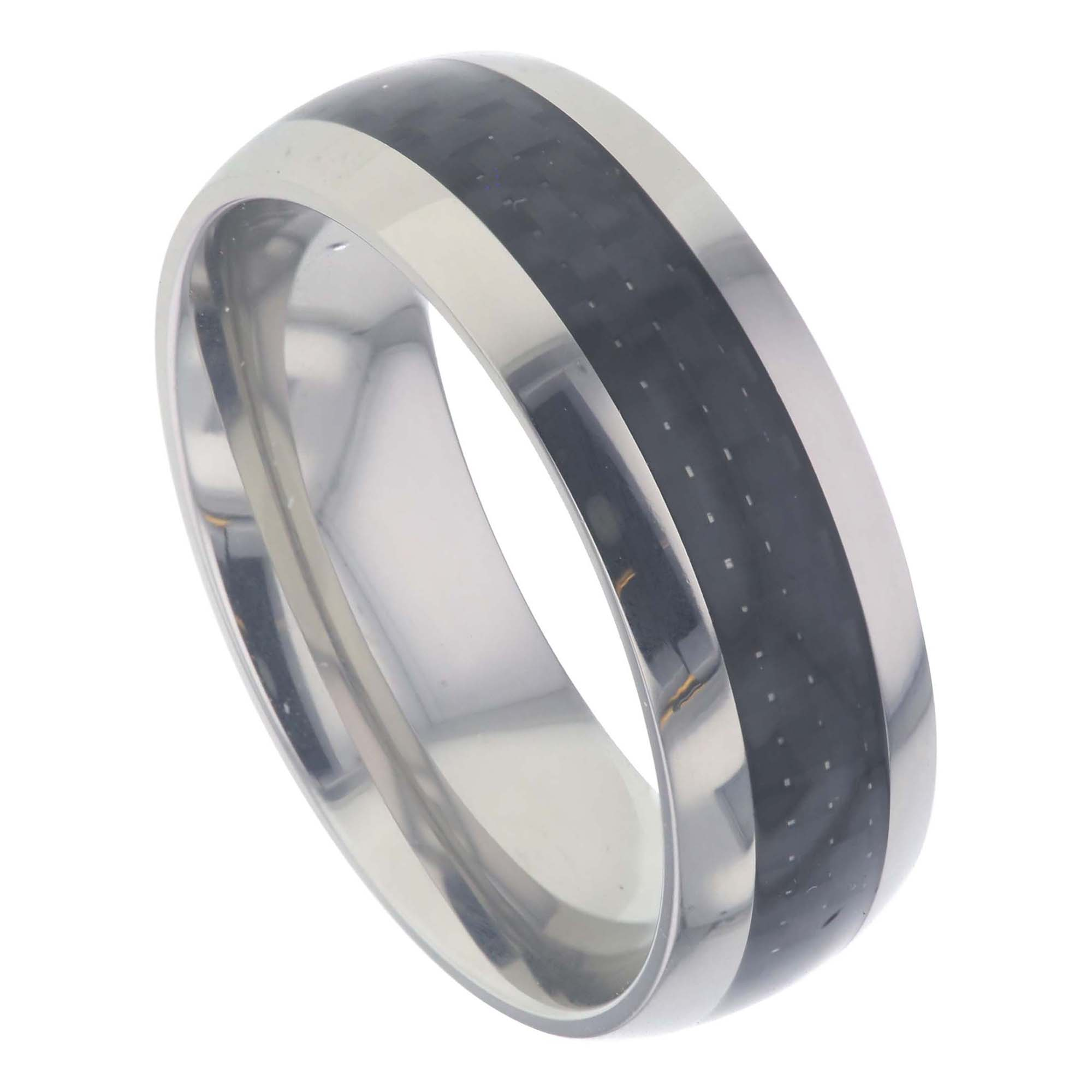 more band views eclipse titanium mens black tungsten polished bands beveled carbide ring wedding